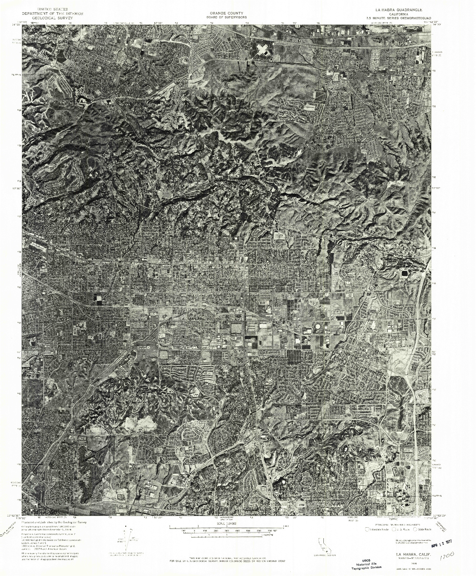 USGS 1:24000-SCALE QUADRANGLE FOR LA HABRA, CA 1974