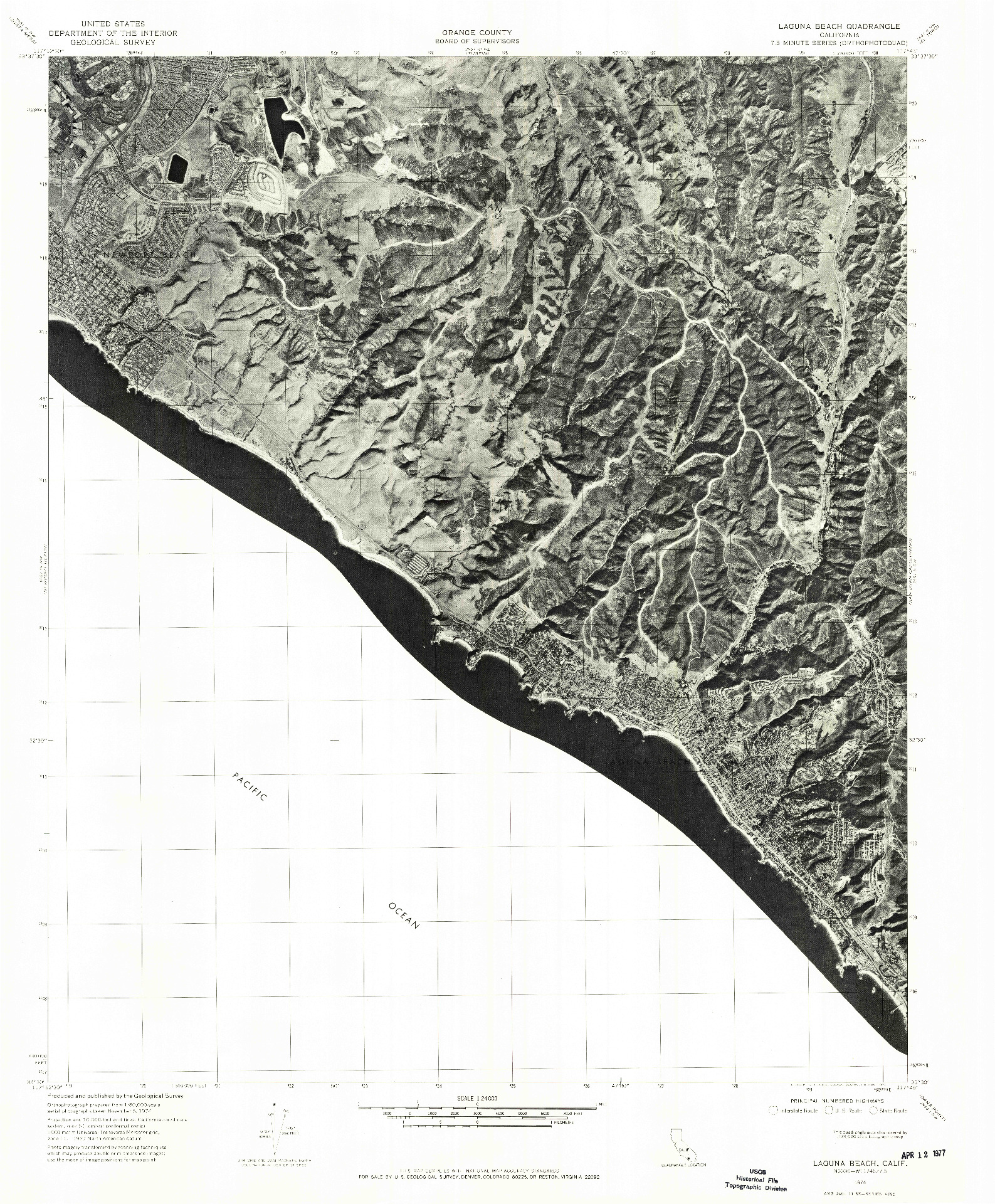 USGS 1:24000-SCALE QUADRANGLE FOR LAGUNA BEACH, CA 1974