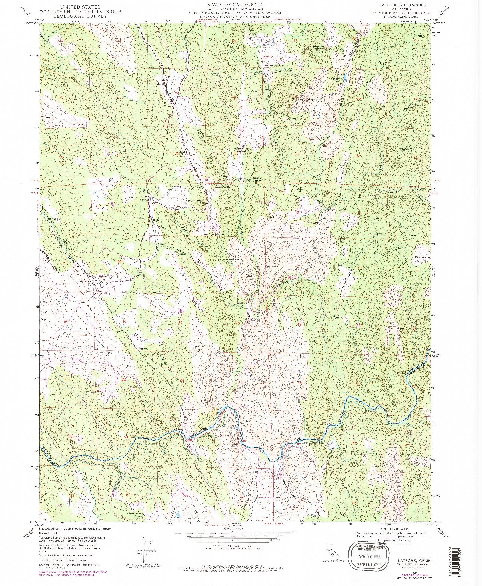 USGS 1:24000-SCALE QUADRANGLE FOR LATROBE, CA 1949