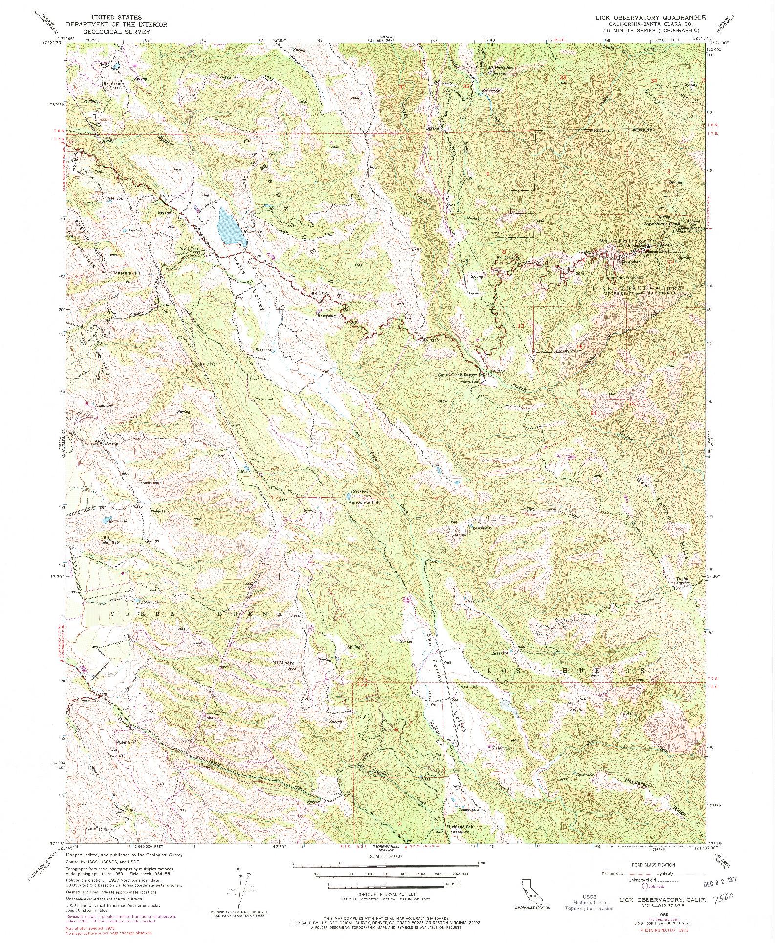USGS 1:24000-SCALE QUADRANGLE FOR LICK OBSERVATORY, CA 1955