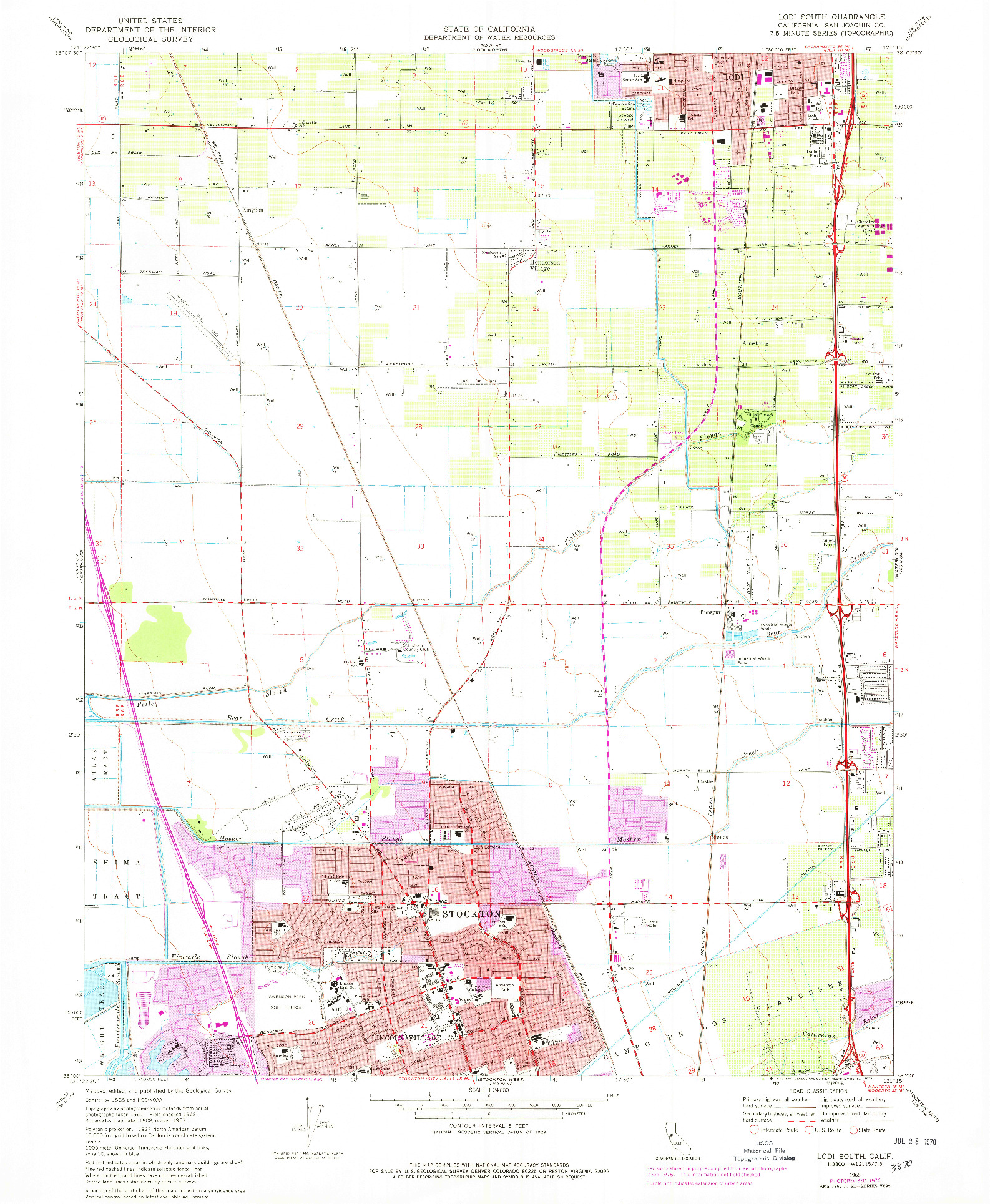 USGS 1:24000-SCALE QUADRANGLE FOR LODI SOUTH, CA 1968
