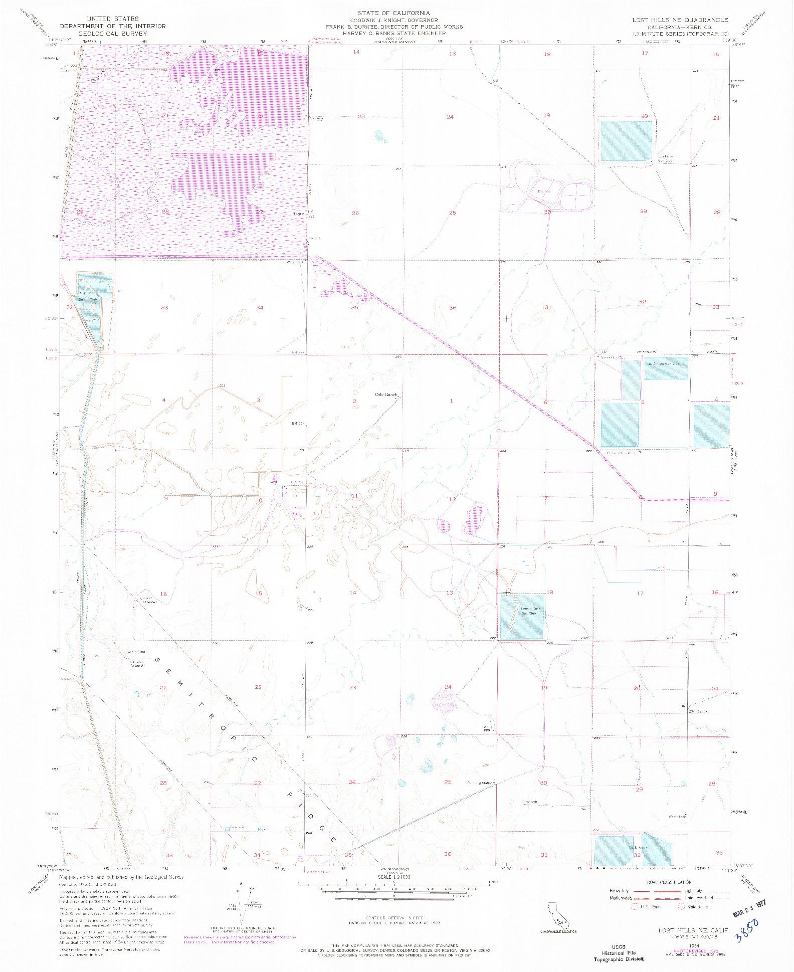 USGS 1:24000-SCALE QUADRANGLE FOR LOST HILLS NE, CA 1954