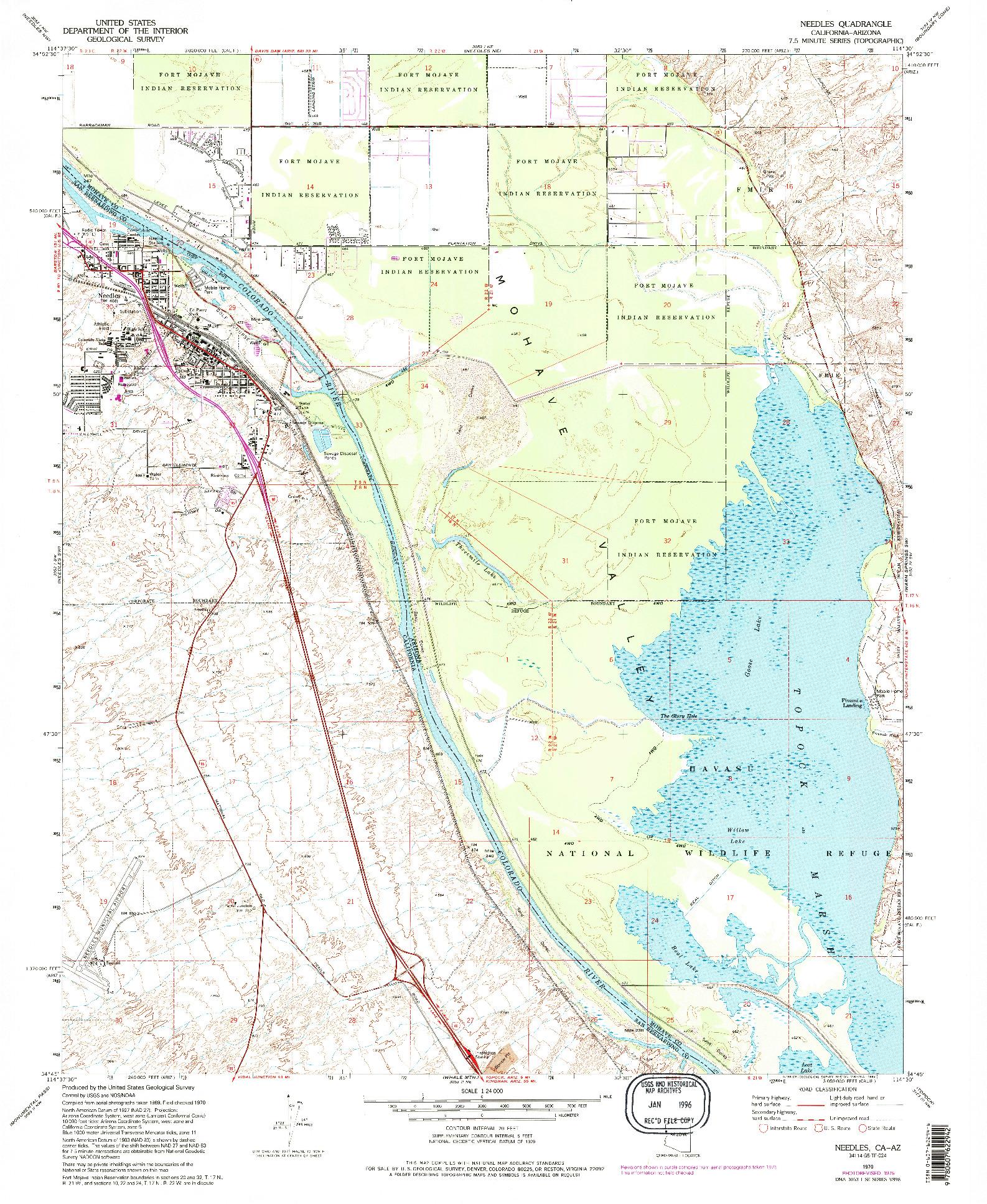 USGS 1:24000-SCALE QUADRANGLE FOR NEEDLES, CA 1970