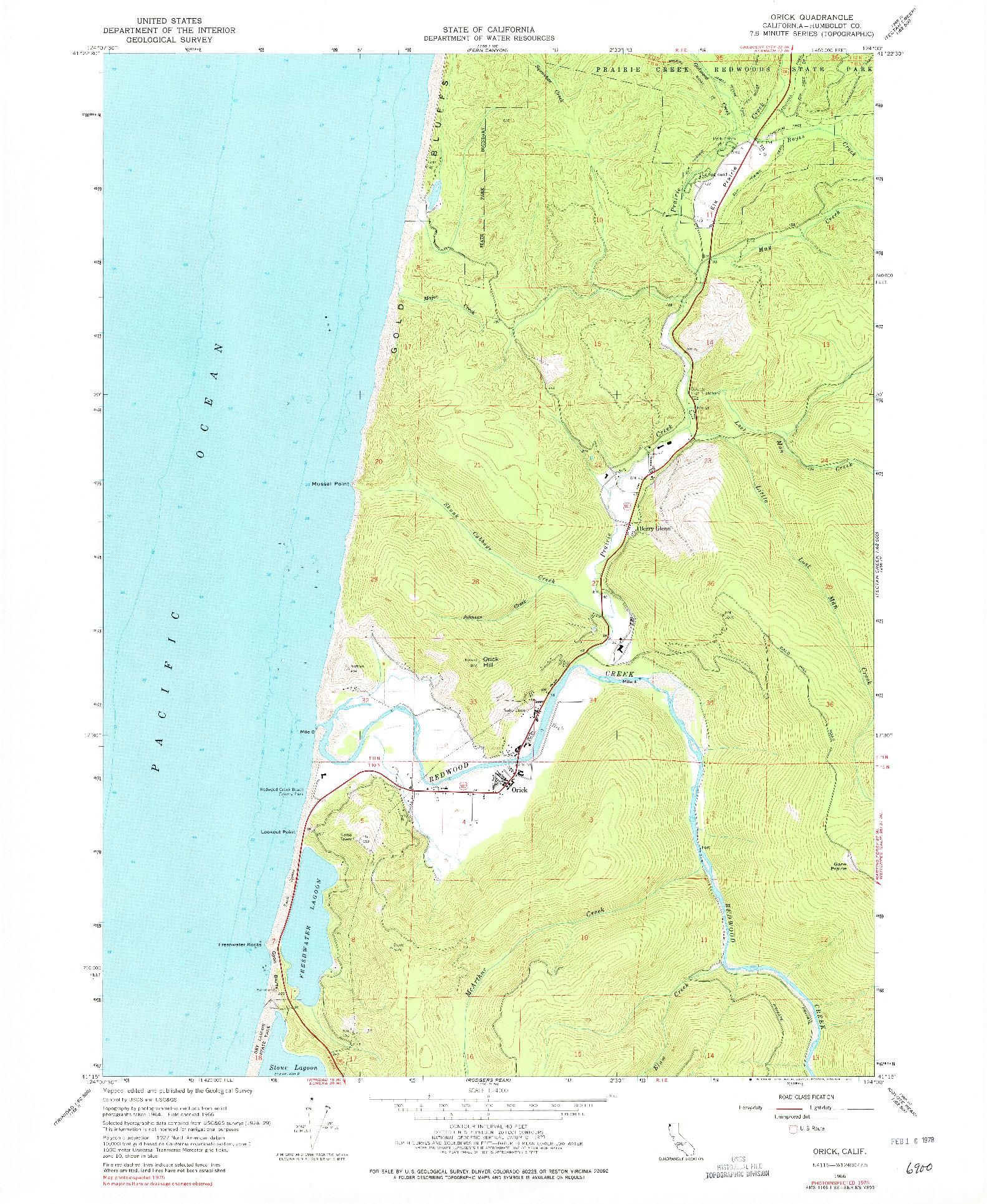 USGS 1:24000-SCALE QUADRANGLE FOR ORICK, CA 1966