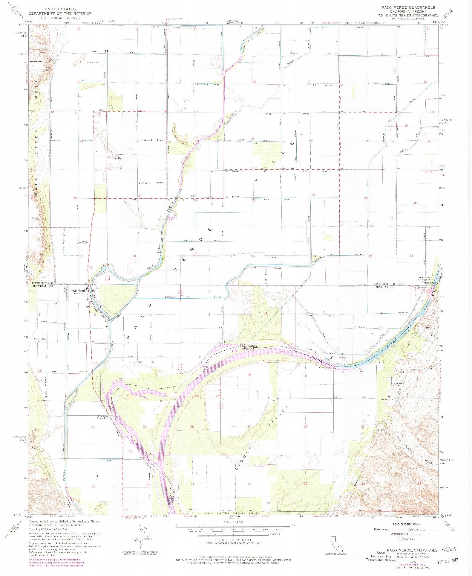 USGS 1:24000-SCALE QUADRANGLE FOR PALO VERDE, CA 1965