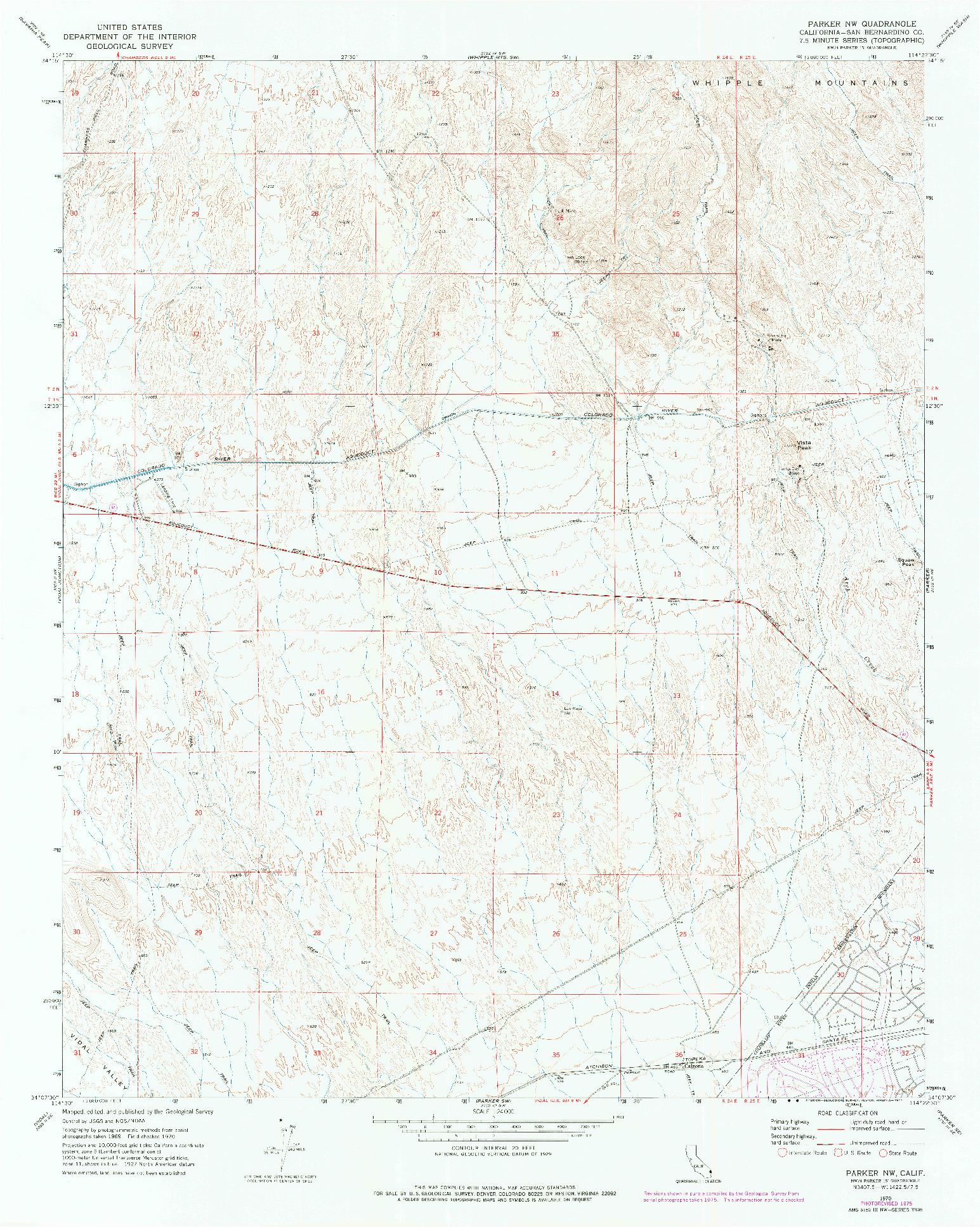 USGS 1:24000-SCALE QUADRANGLE FOR PARKER NW, CA 1970