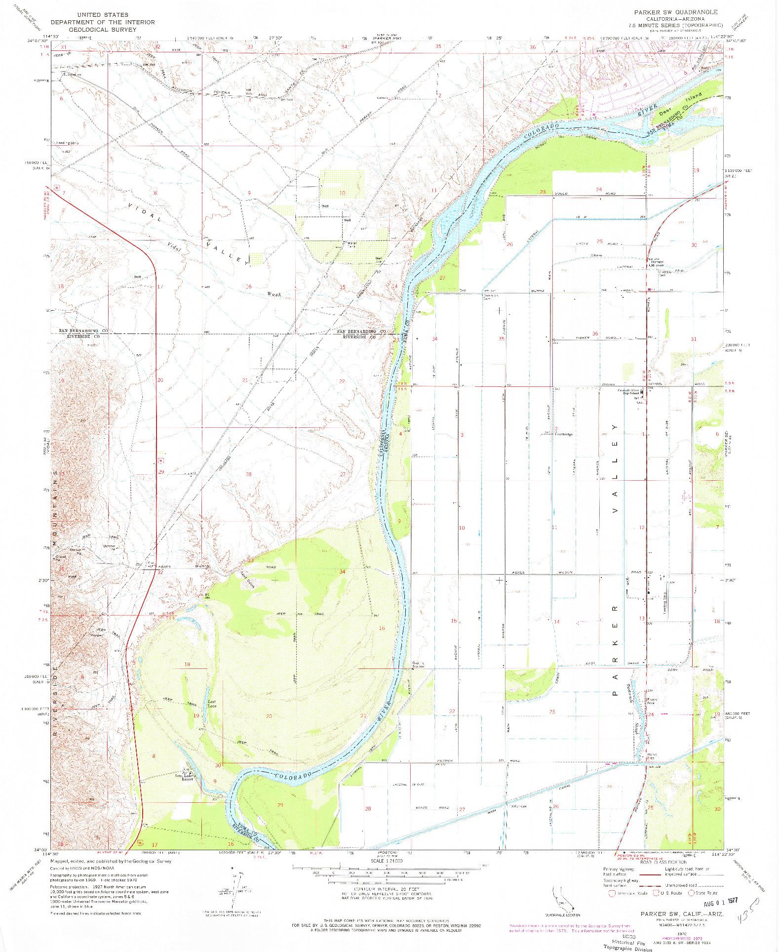 USGS 1:24000-SCALE QUADRANGLE FOR PARKER SW, CA 1970