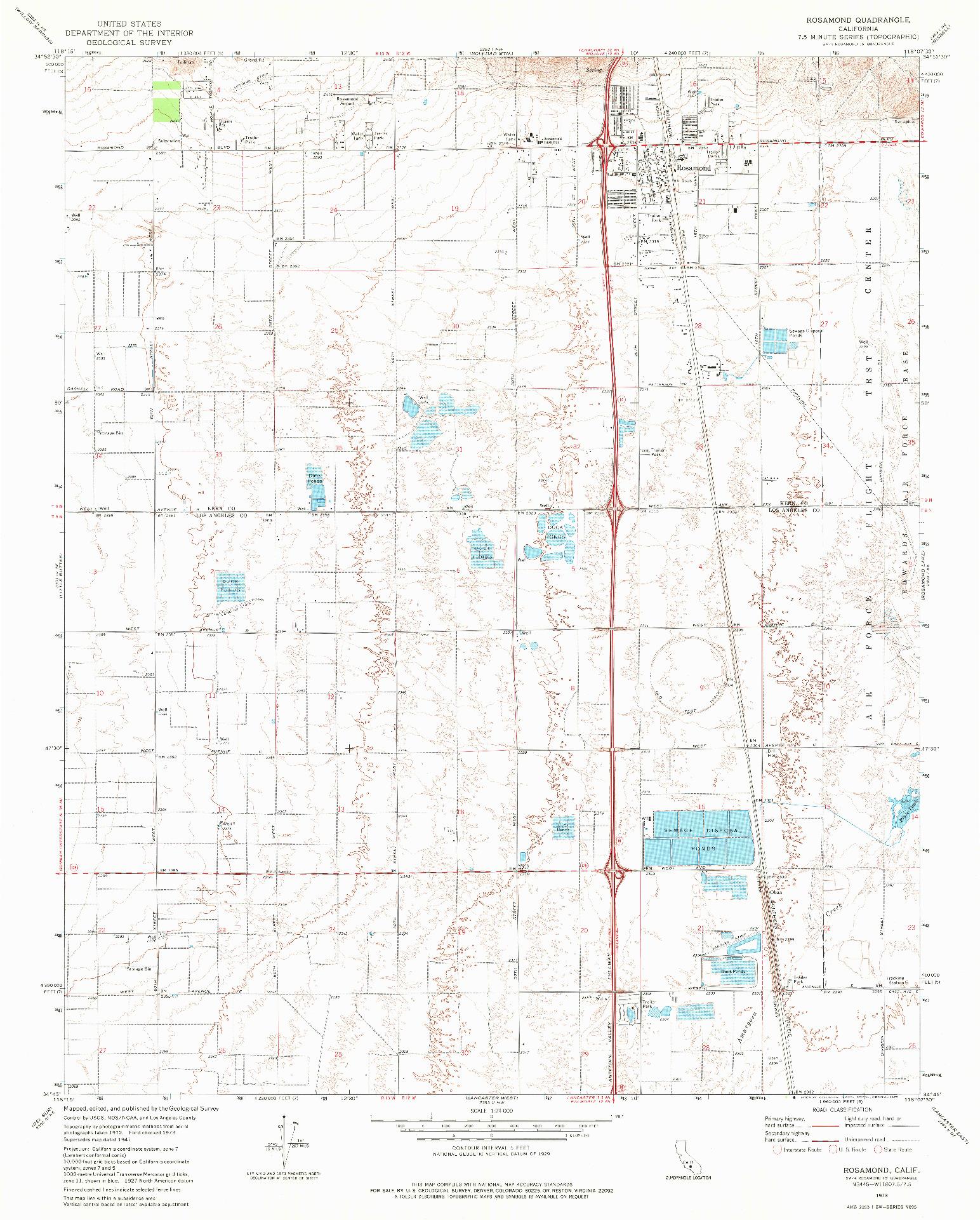USGS 1:24000-SCALE QUADRANGLE FOR ROSAMOND, CA 1973
