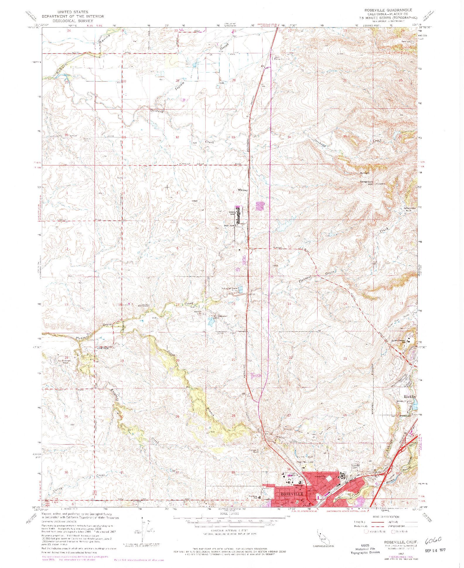 USGS 1:24000-SCALE QUADRANGLE FOR ROSEVILLE, CA 1967