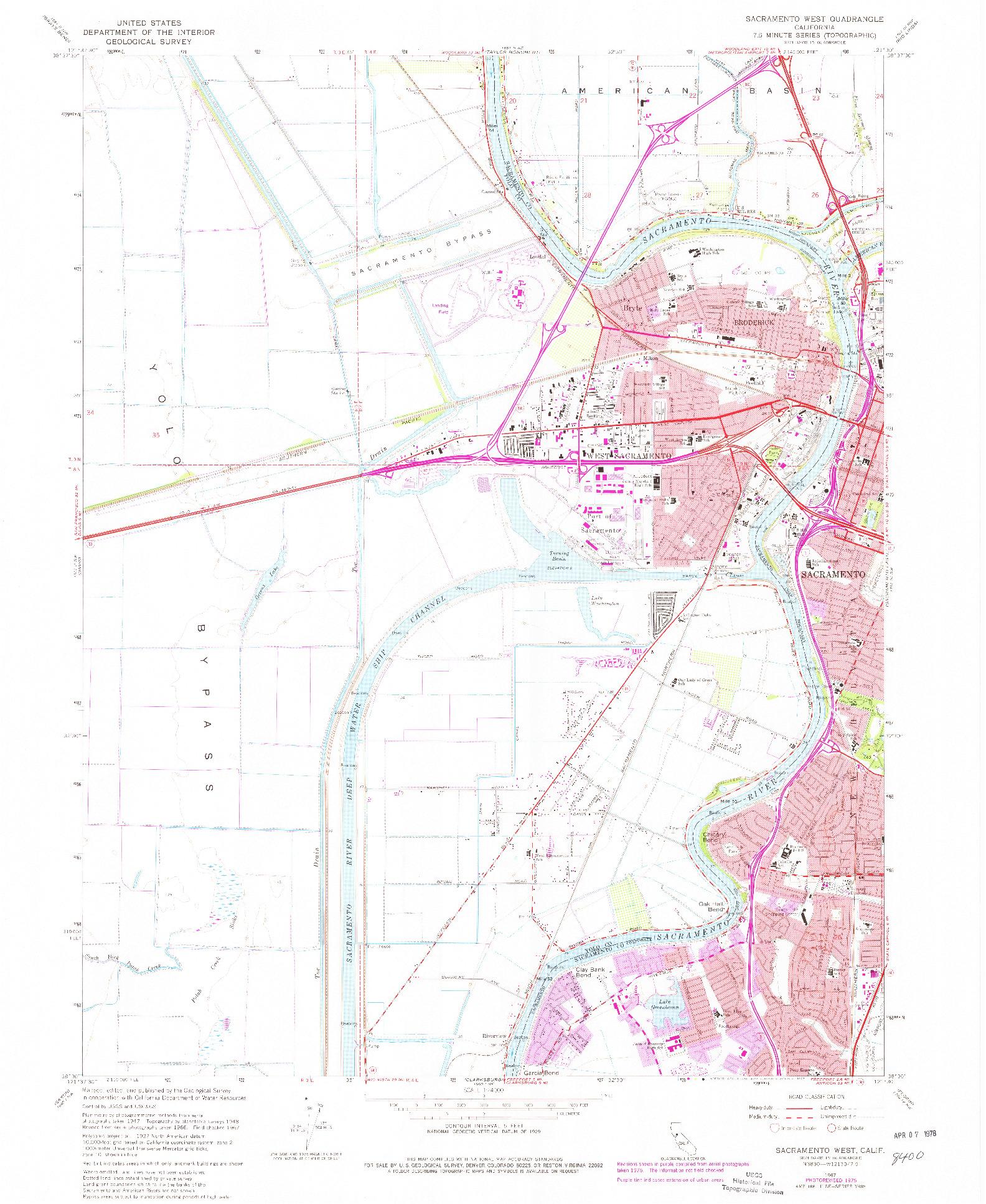 USGS 1:24000-SCALE QUADRANGLE FOR SACRAMENTO WEST, CA 1967