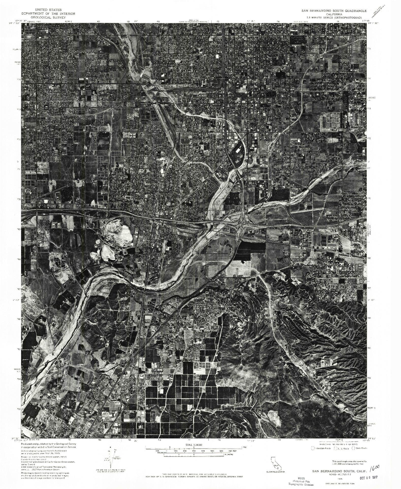 USGS 1:24000-SCALE QUADRANGLE FOR SAN BERNARDINO SOUTH, CA 1975