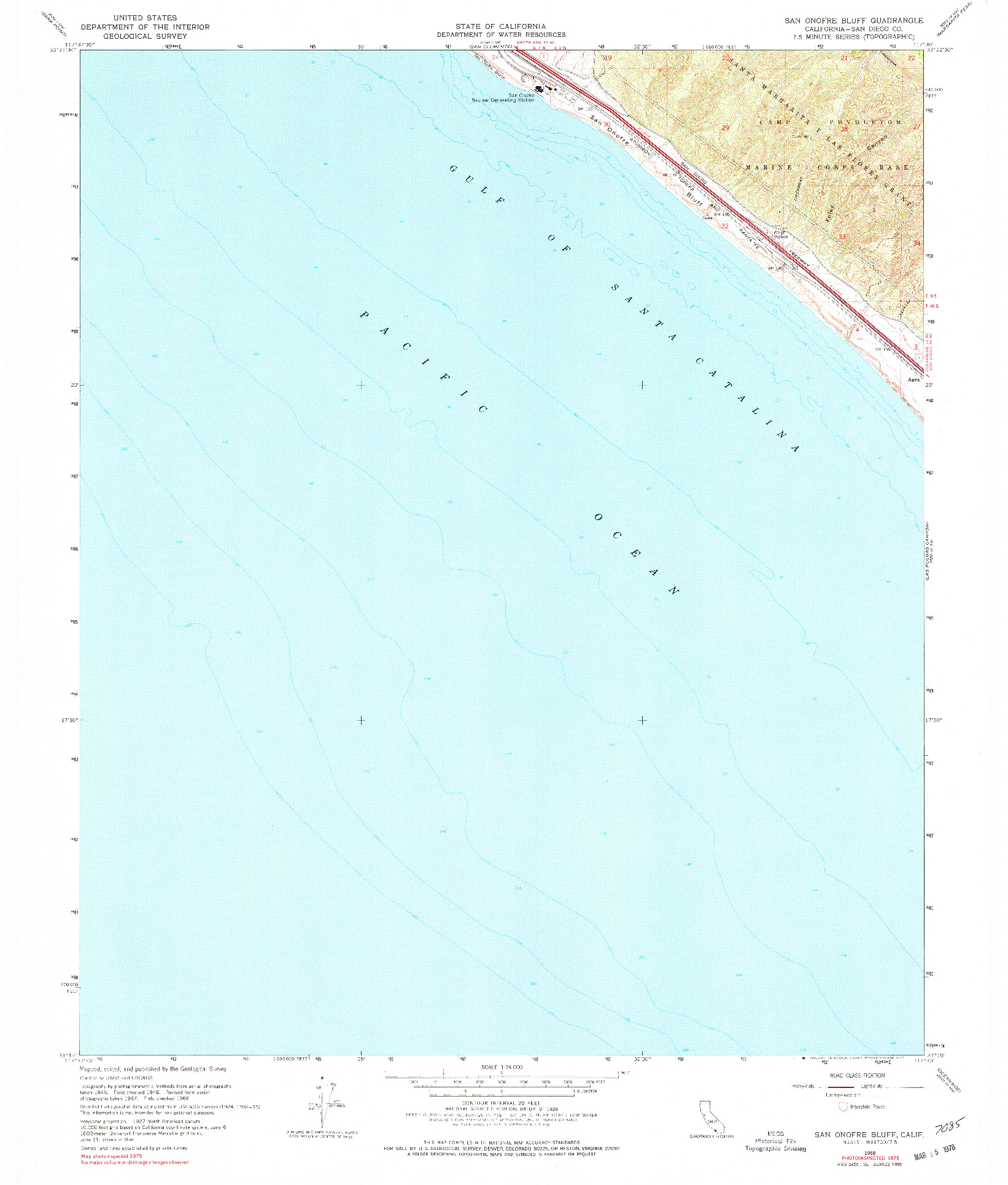 USGS 1:24000-SCALE QUADRANGLE FOR SAN ONOFRE BLUFF, CA 1968