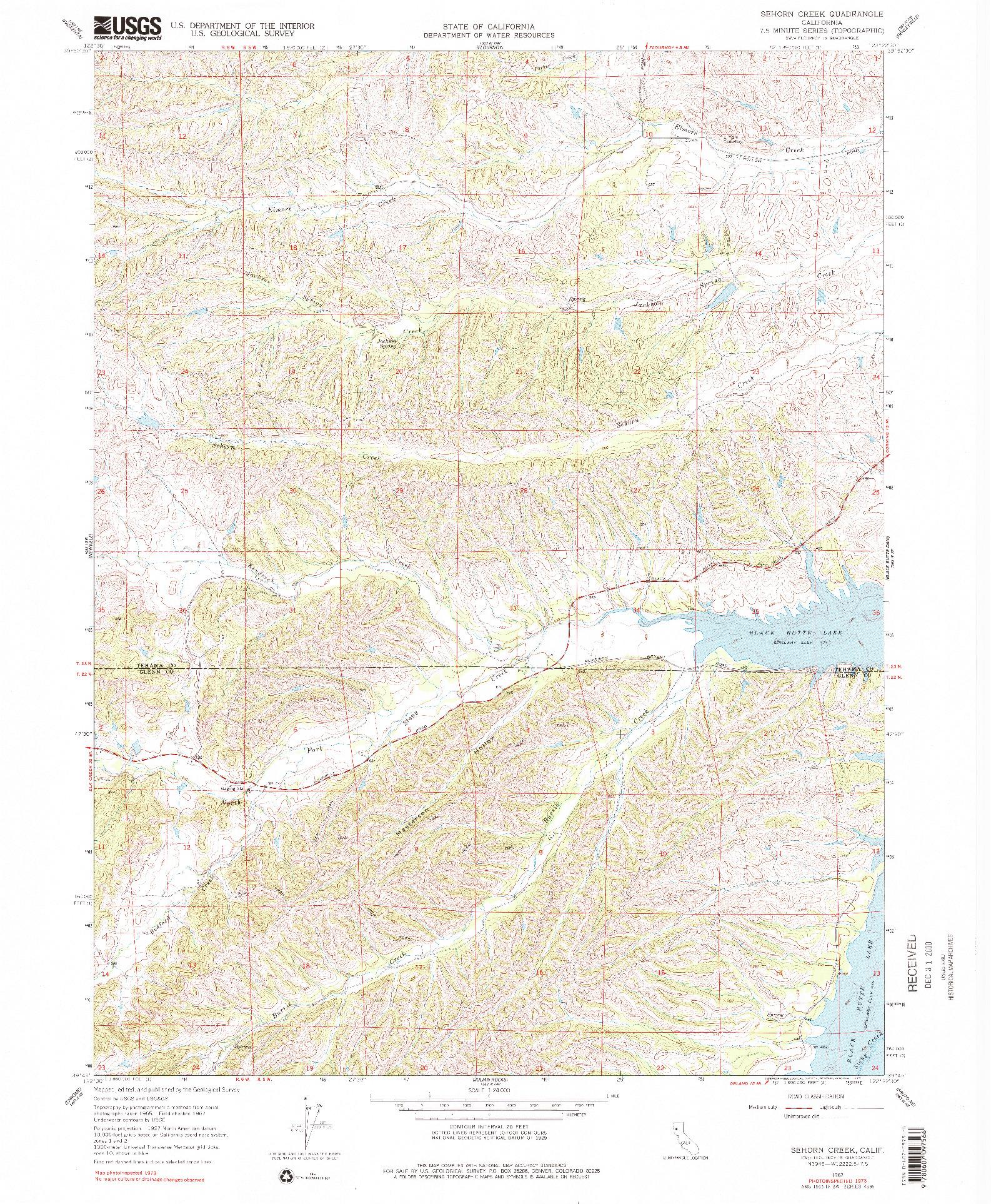 USGS 1:24000-SCALE QUADRANGLE FOR SEHORN CREEK, CA 1967