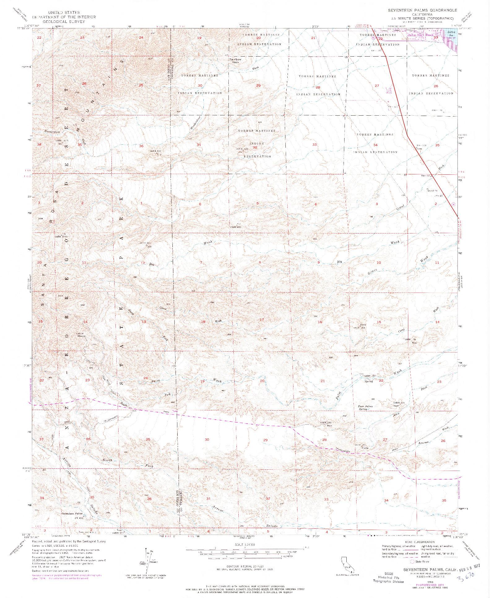 USGS 1:24000-SCALE QUADRANGLE FOR SEVENTEEN PALMS, CA 1956