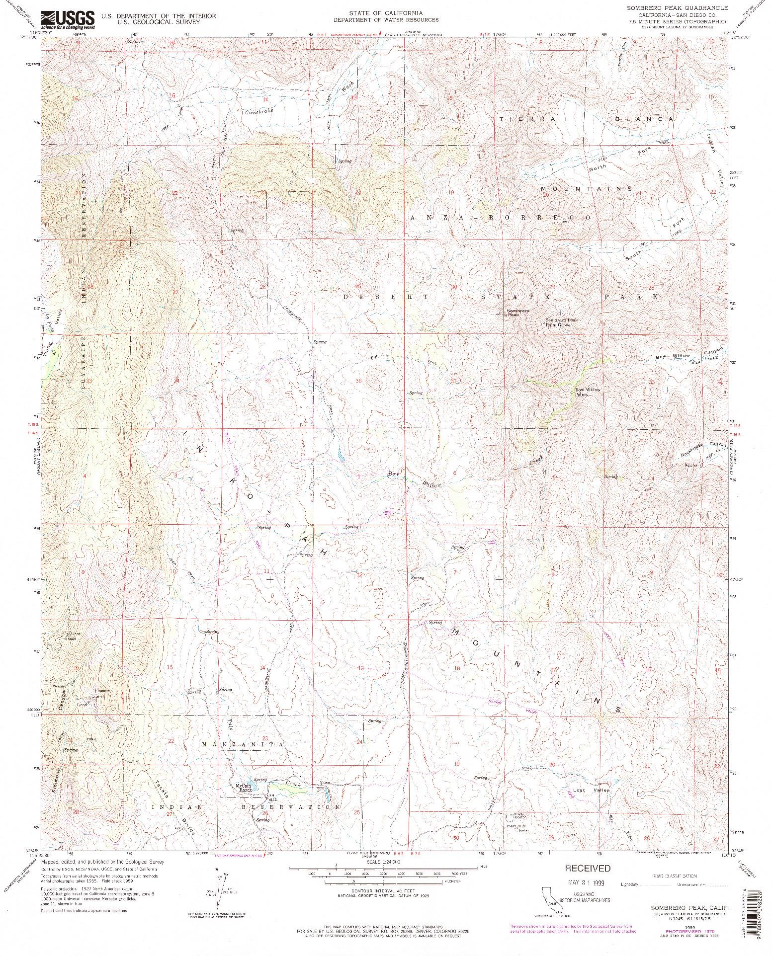 USGS 1:24000-SCALE QUADRANGLE FOR SOMBRERO PEAK, CA 1959