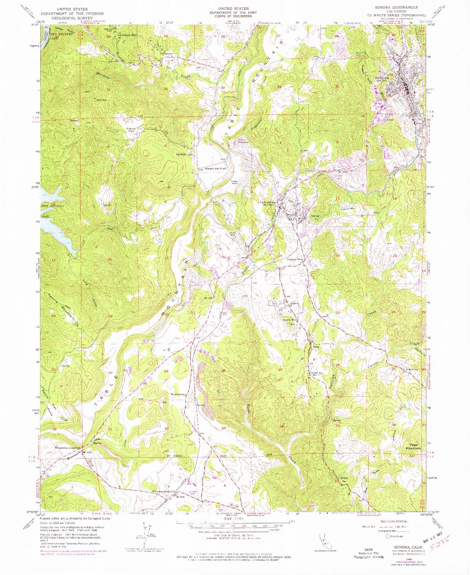 USGS 1:24000-SCALE QUADRANGLE FOR SONORA, CA 1948