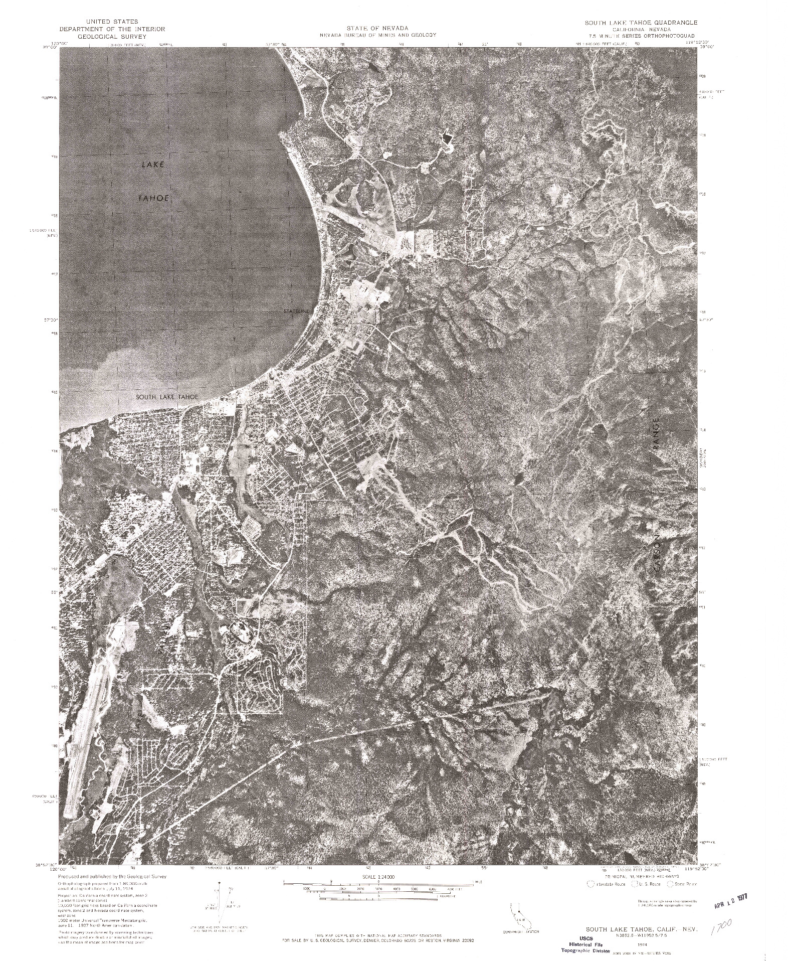 USGS 1:24000-SCALE QUADRANGLE FOR SOUTH LAKE TAHOE, CA 1974