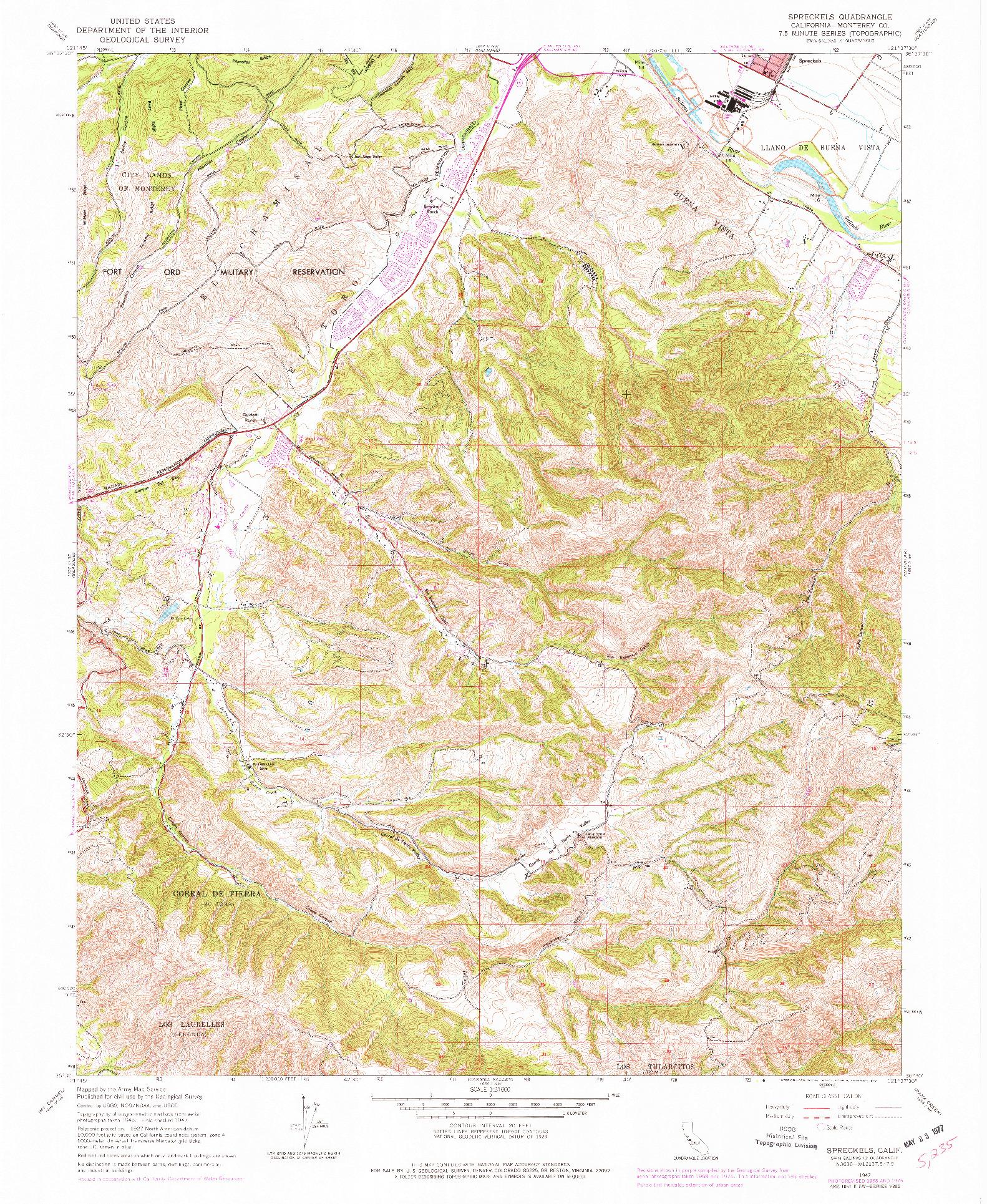 USGS 1:24000-SCALE QUADRANGLE FOR SPRECKELS, CA 1947