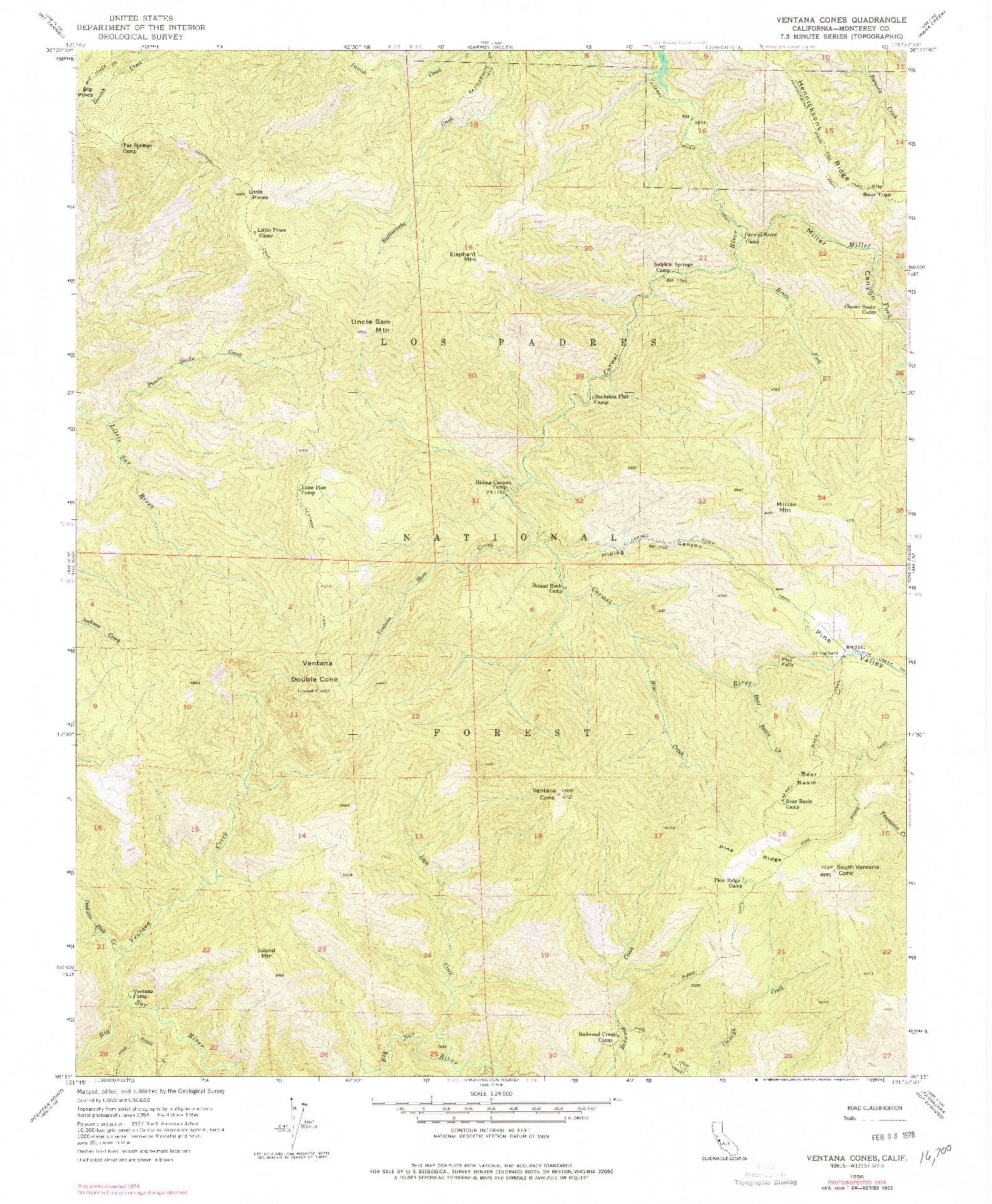 USGS 1:24000-SCALE QUADRANGLE FOR VENTANA CONES, CA 1956
