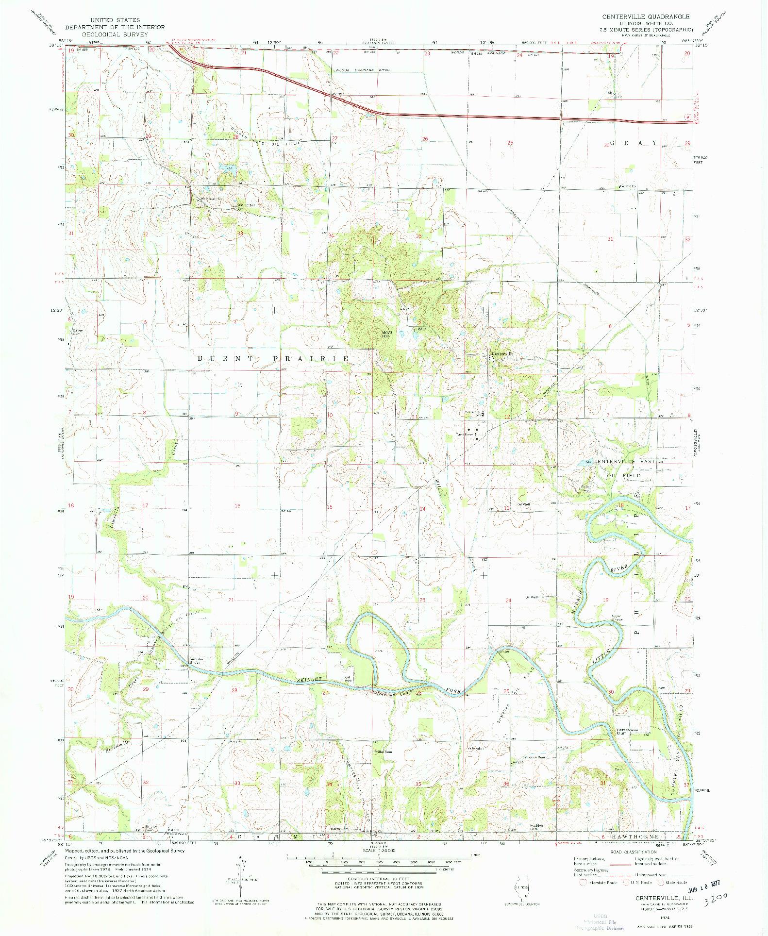 USGS 1:24000-SCALE QUADRANGLE FOR CENTERVILLE, IL 1974