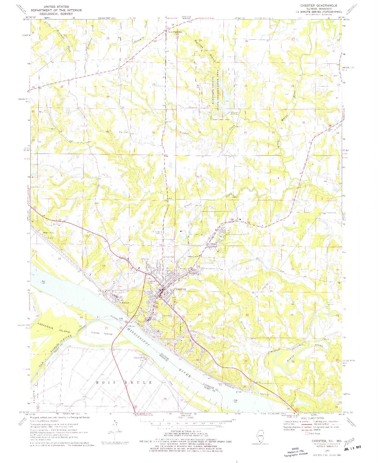 USGS 1:24000-SCALE QUADRANGLE FOR CHESTER, IL 1970