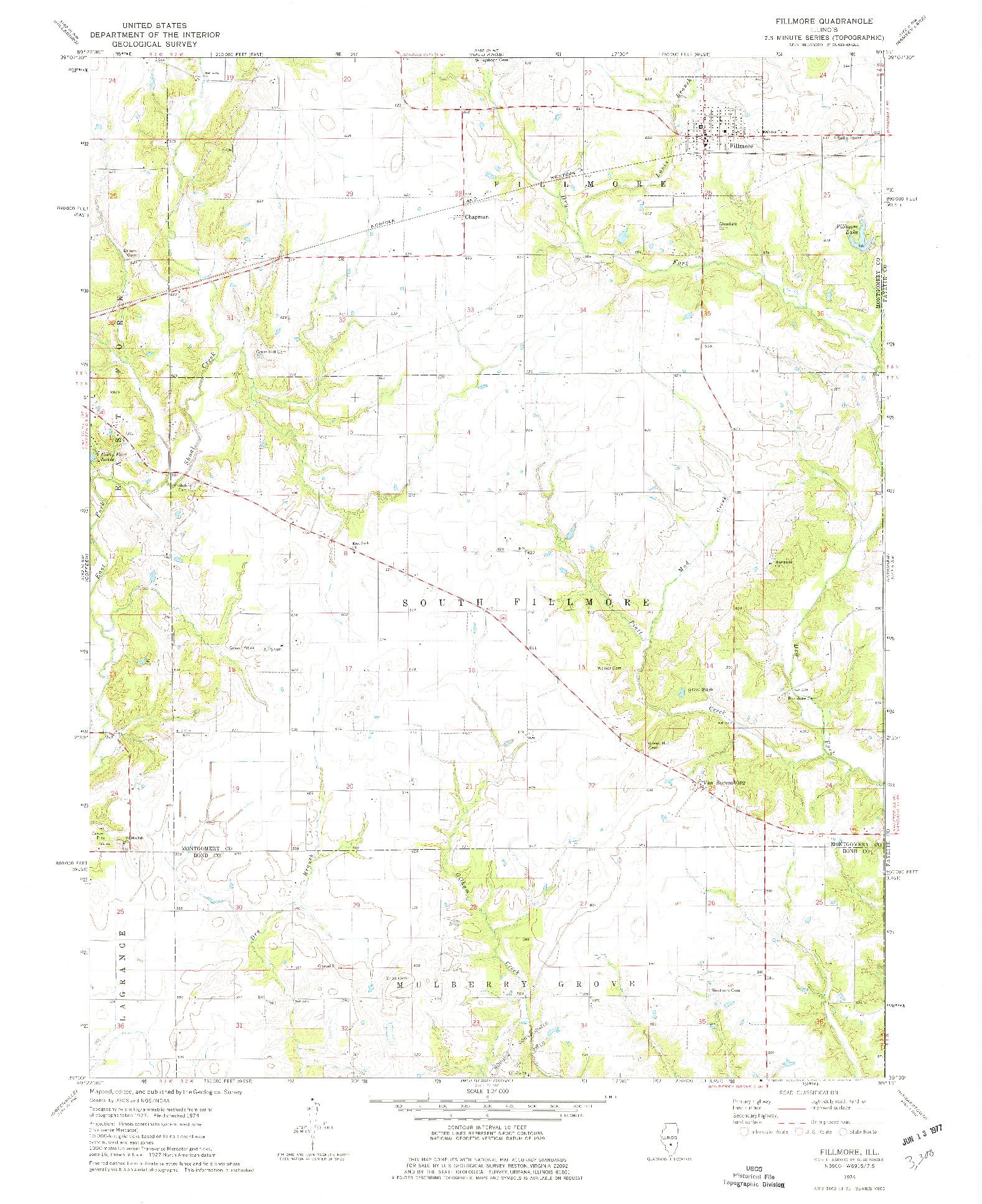USGS 1:24000-SCALE QUADRANGLE FOR FILLMORE, IL 1974