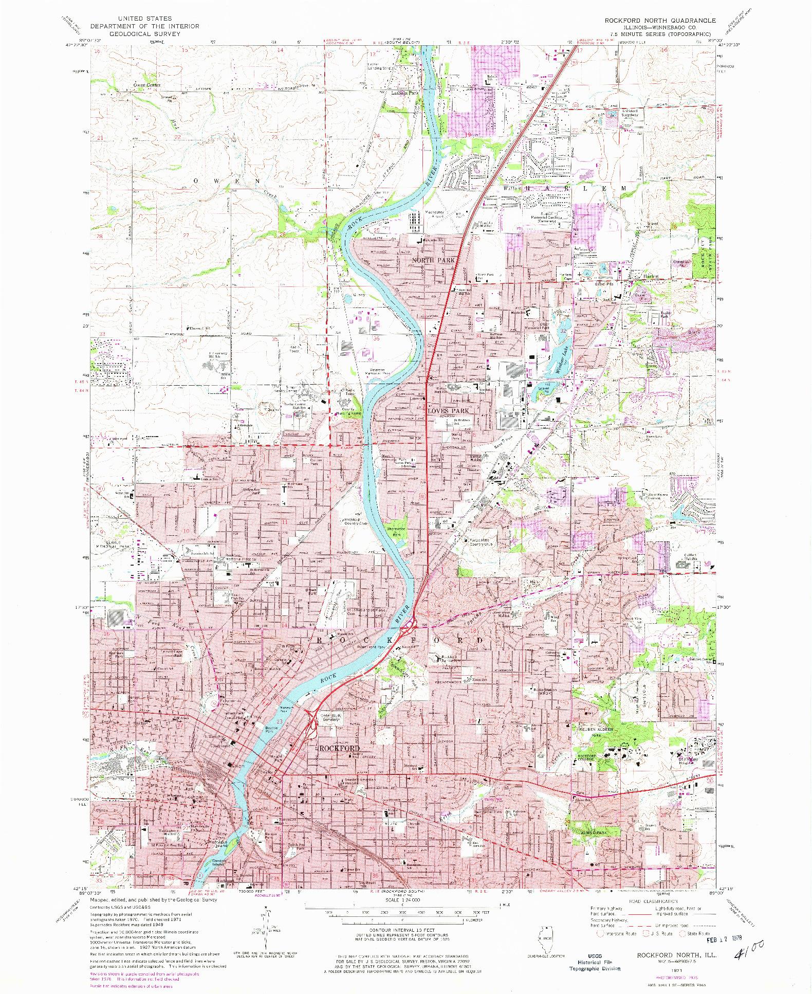 USGS 1:24000-SCALE QUADRANGLE FOR ROCKFORD NORTH, IL 1971