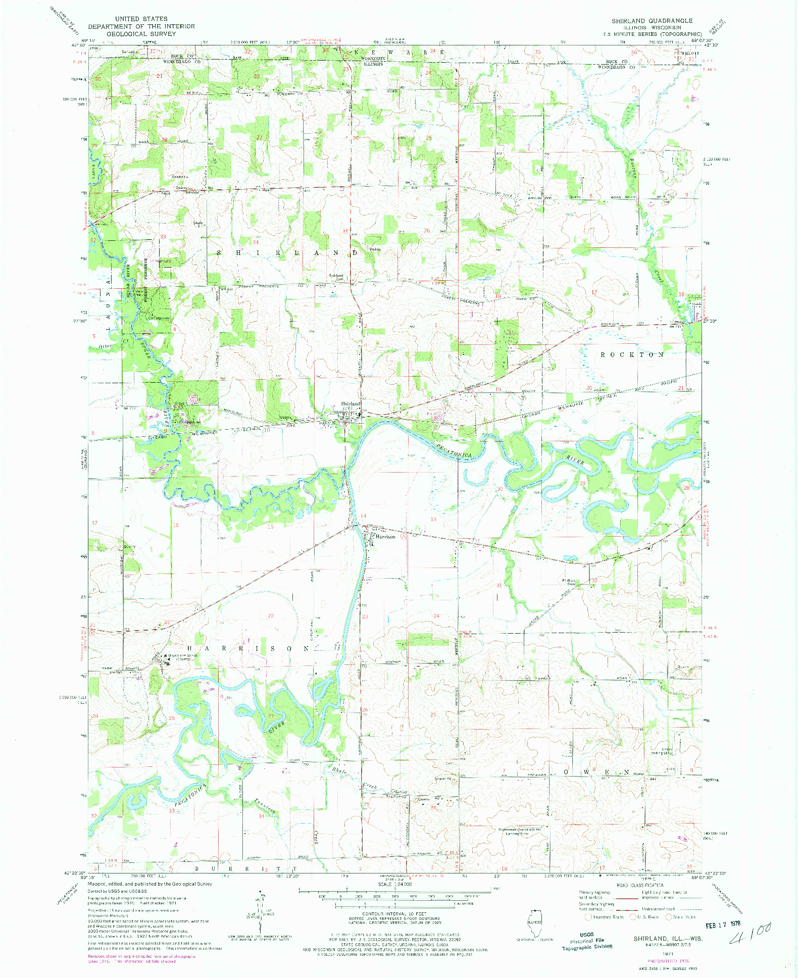 USGS 1:24000-SCALE QUADRANGLE FOR SHIRLAND, IL 1971
