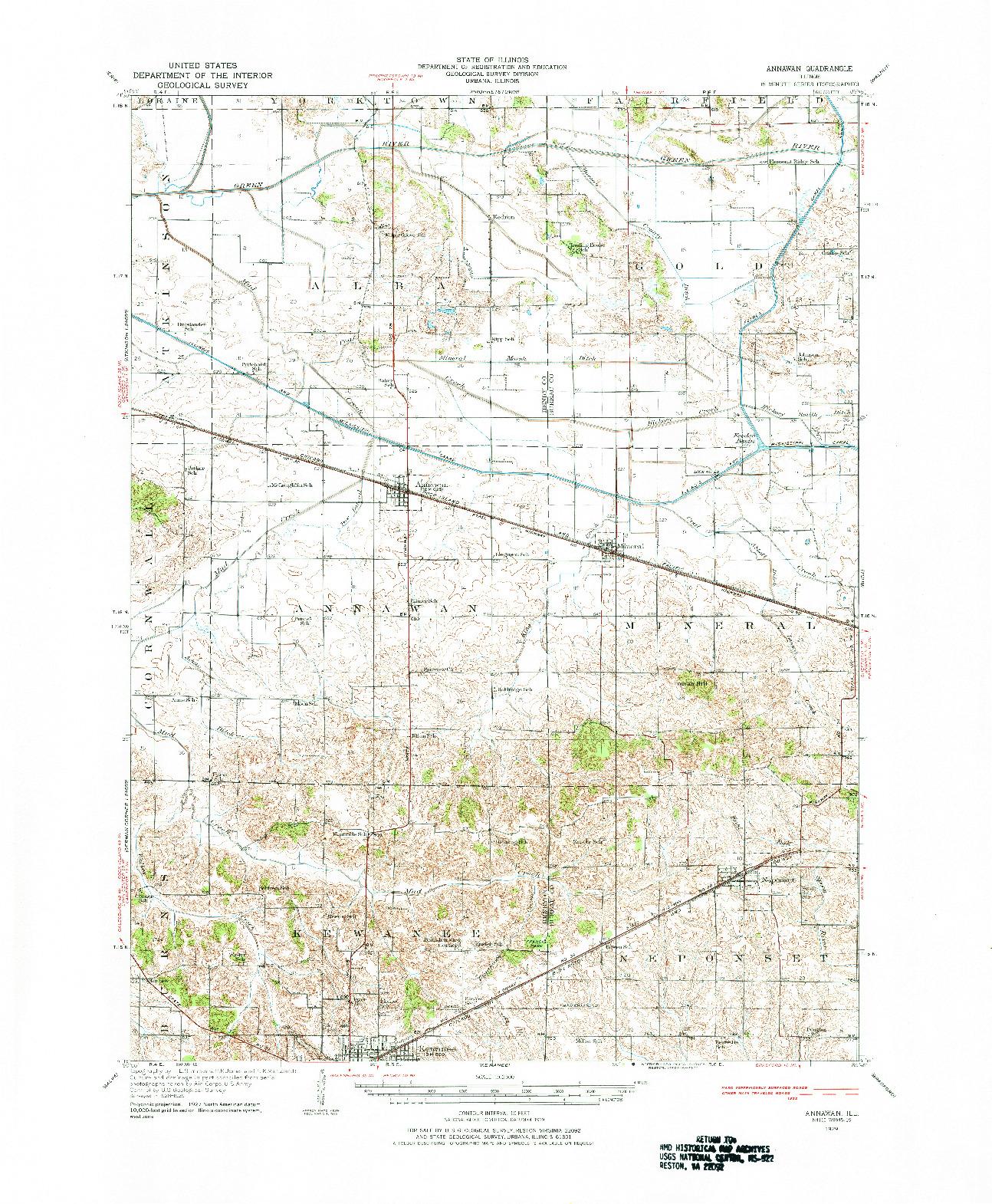 USGS 1:62500-SCALE QUADRANGLE FOR ANNAWAN, IL 1929