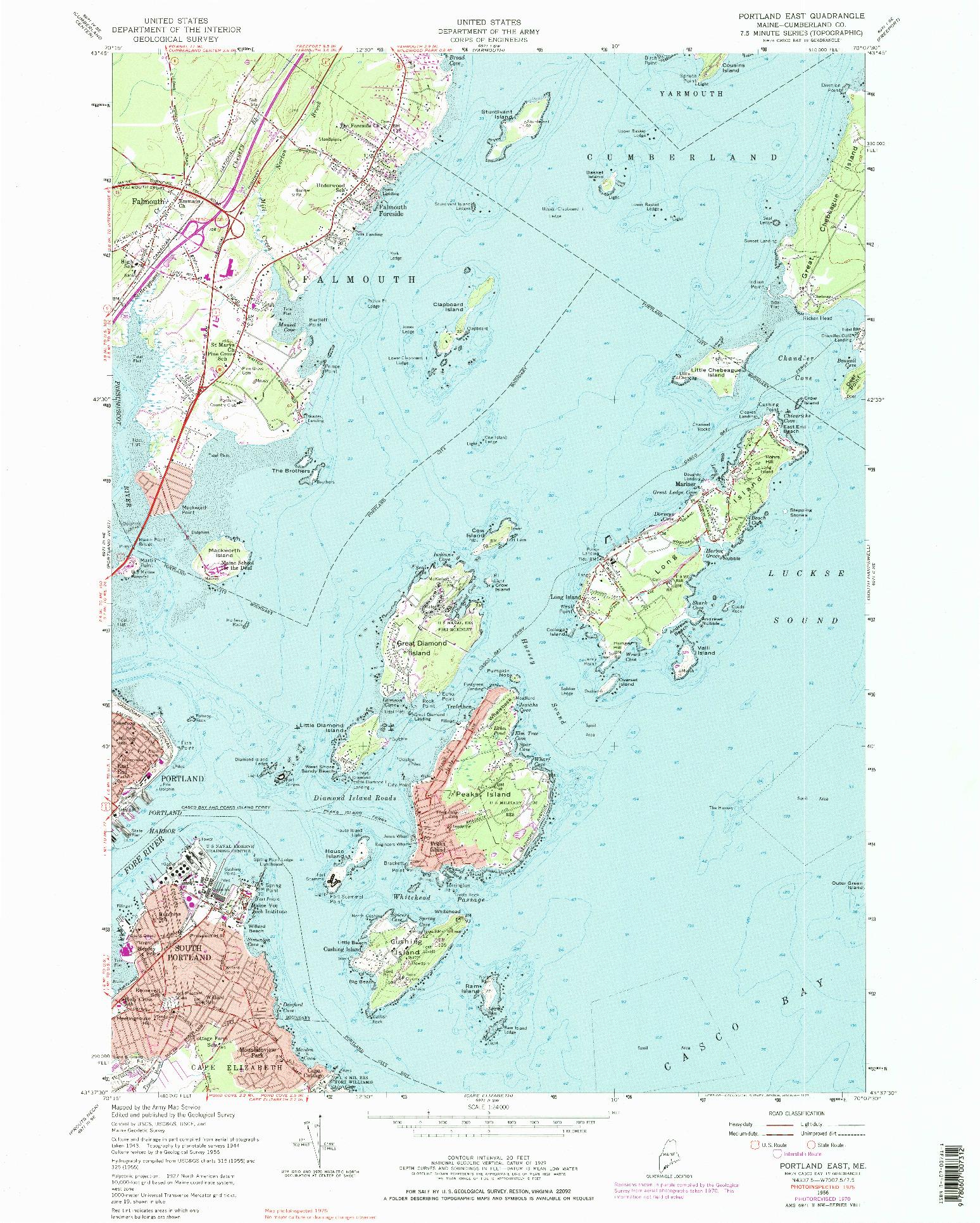USGS 1:24000-SCALE QUADRANGLE FOR PORTLAND EAST, ME 1956