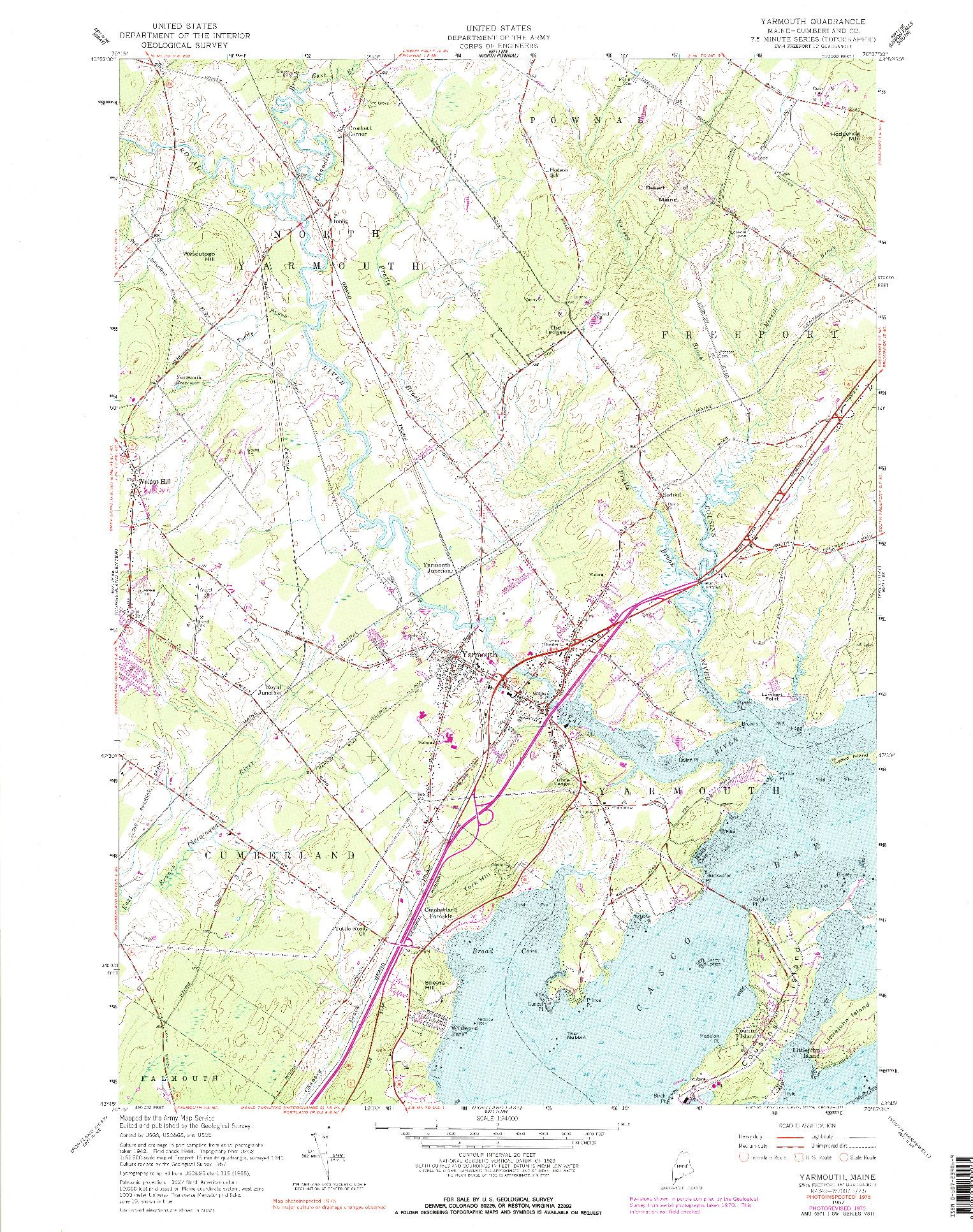 USGS 1:24000-SCALE QUADRANGLE FOR YARMOUTH, ME 1957