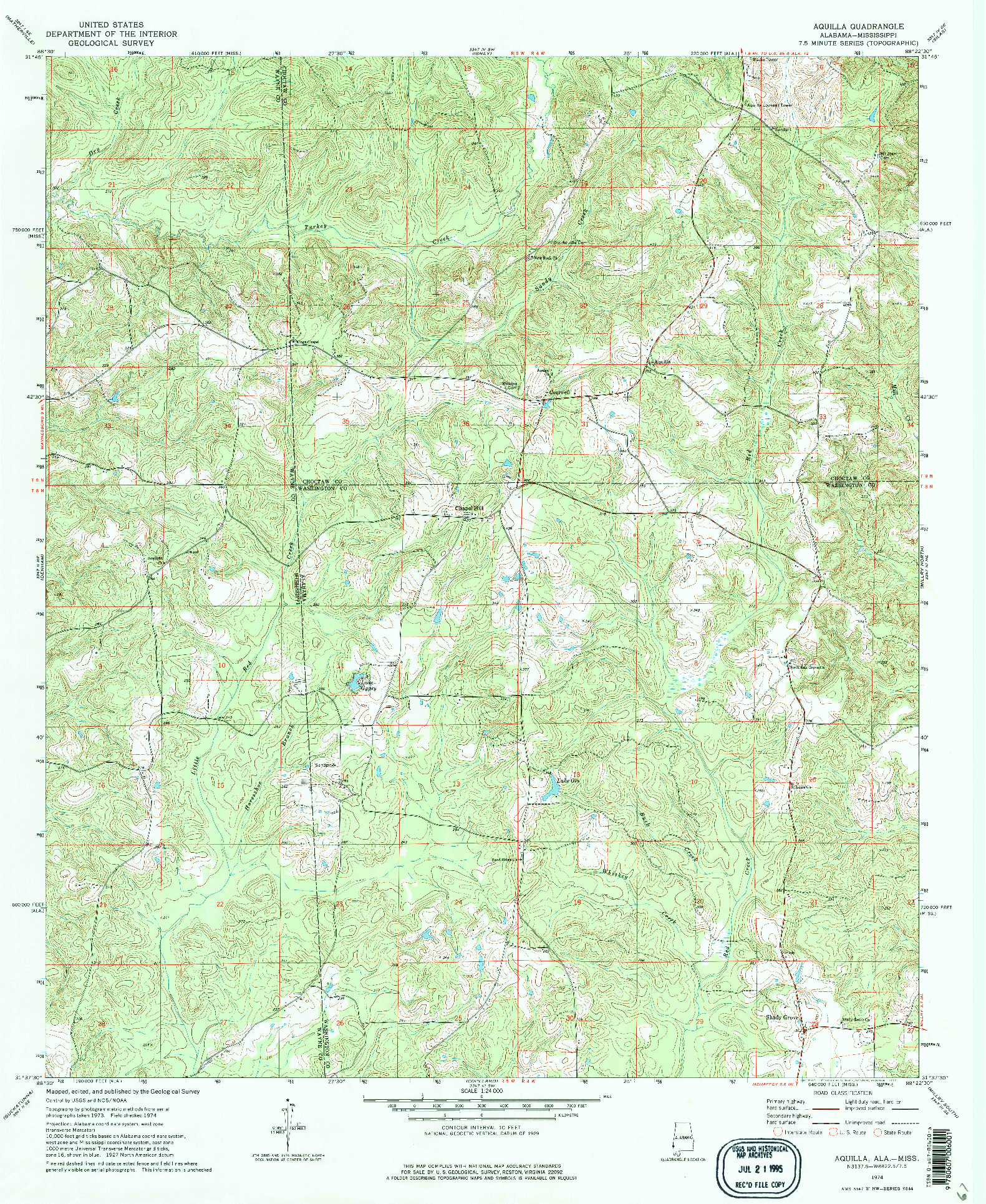 USGS 1:24000-SCALE QUADRANGLE FOR AQUILLA, AL 1974