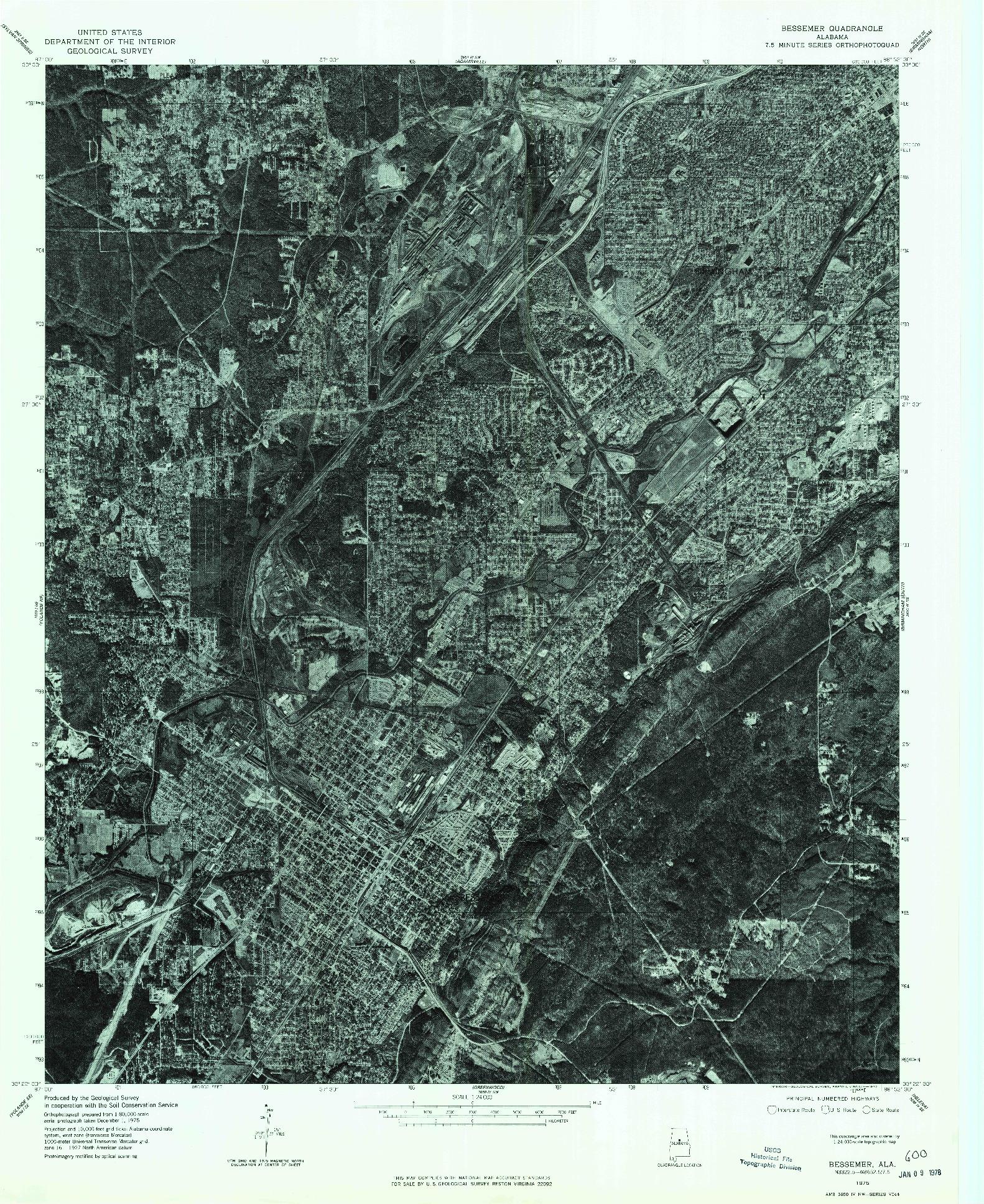 USGS 1:24000-SCALE QUADRANGLE FOR BESSEMER, AL 1975