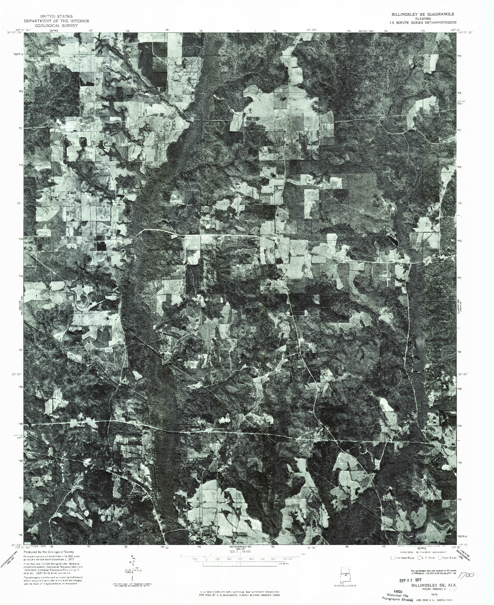 USGS 1:24000-SCALE QUADRANGLE FOR BILLINGSLEY SE, AL 1975