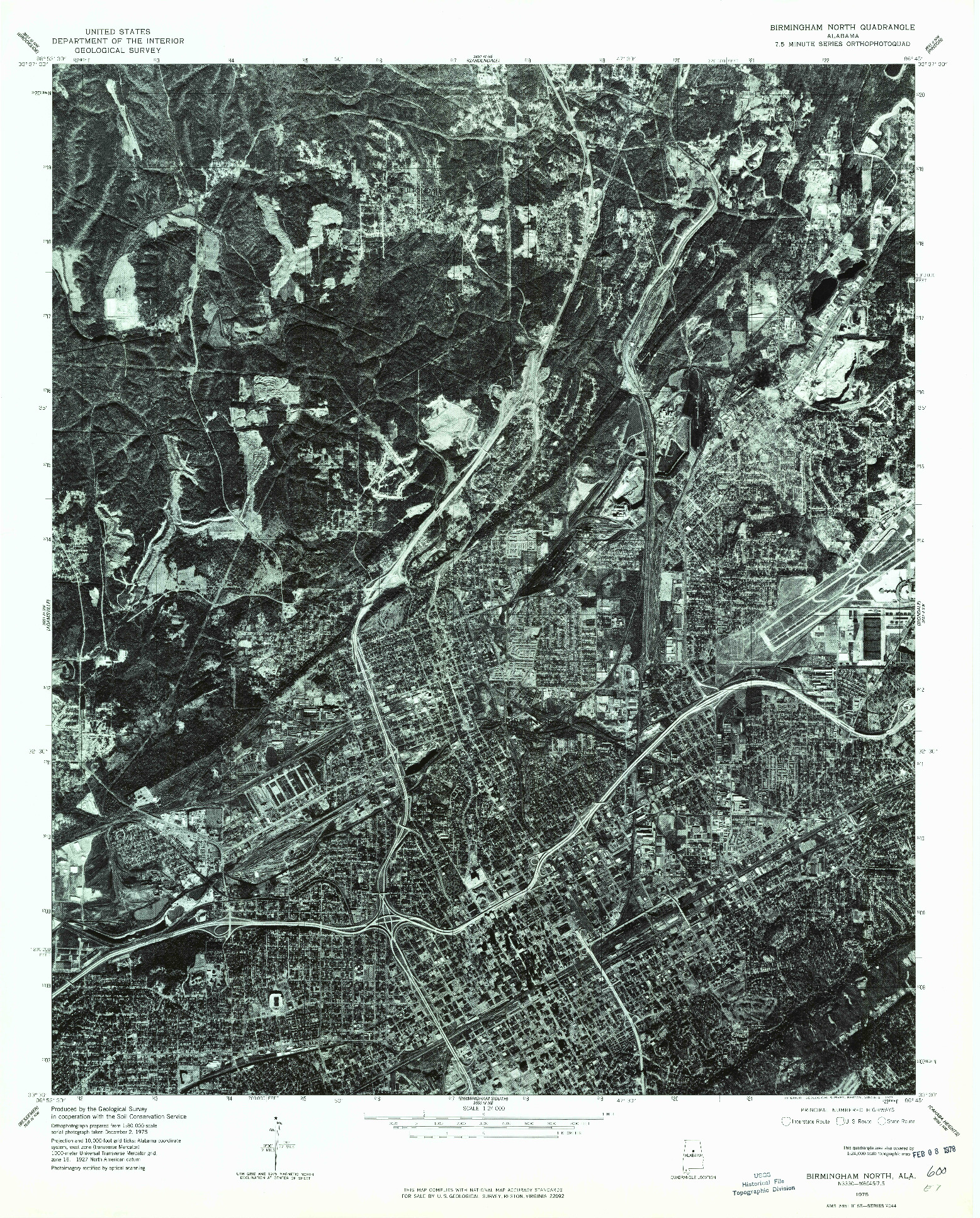 USGS 1:24000-SCALE QUADRANGLE FOR BIRMINGHAM NORTH, AL 1975