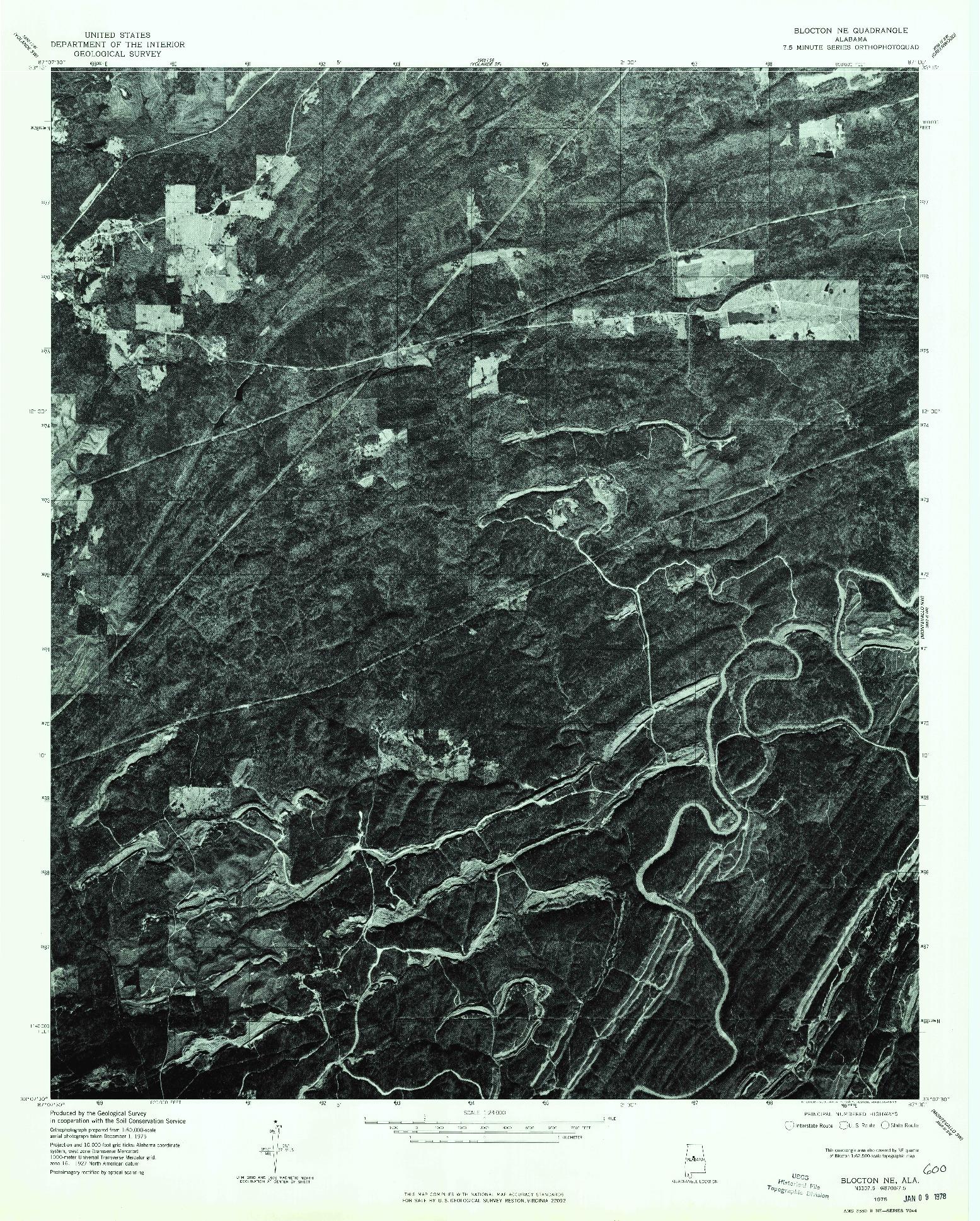 USGS 1:24000-SCALE QUADRANGLE FOR BLOCTON NE, AL 1975