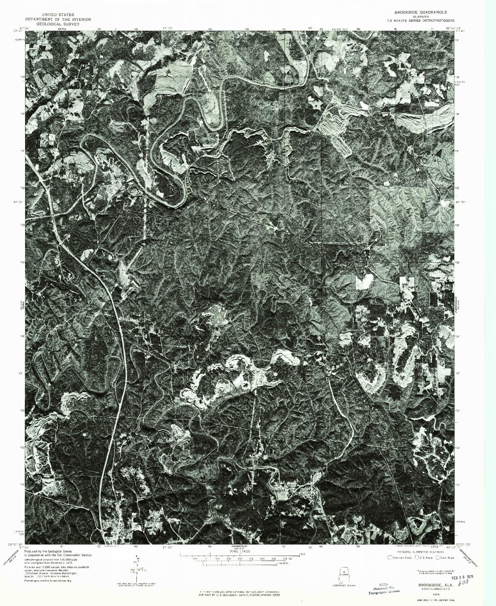 USGS 1:24000-SCALE QUADRANGLE FOR BROOKSIDE, AL 1975