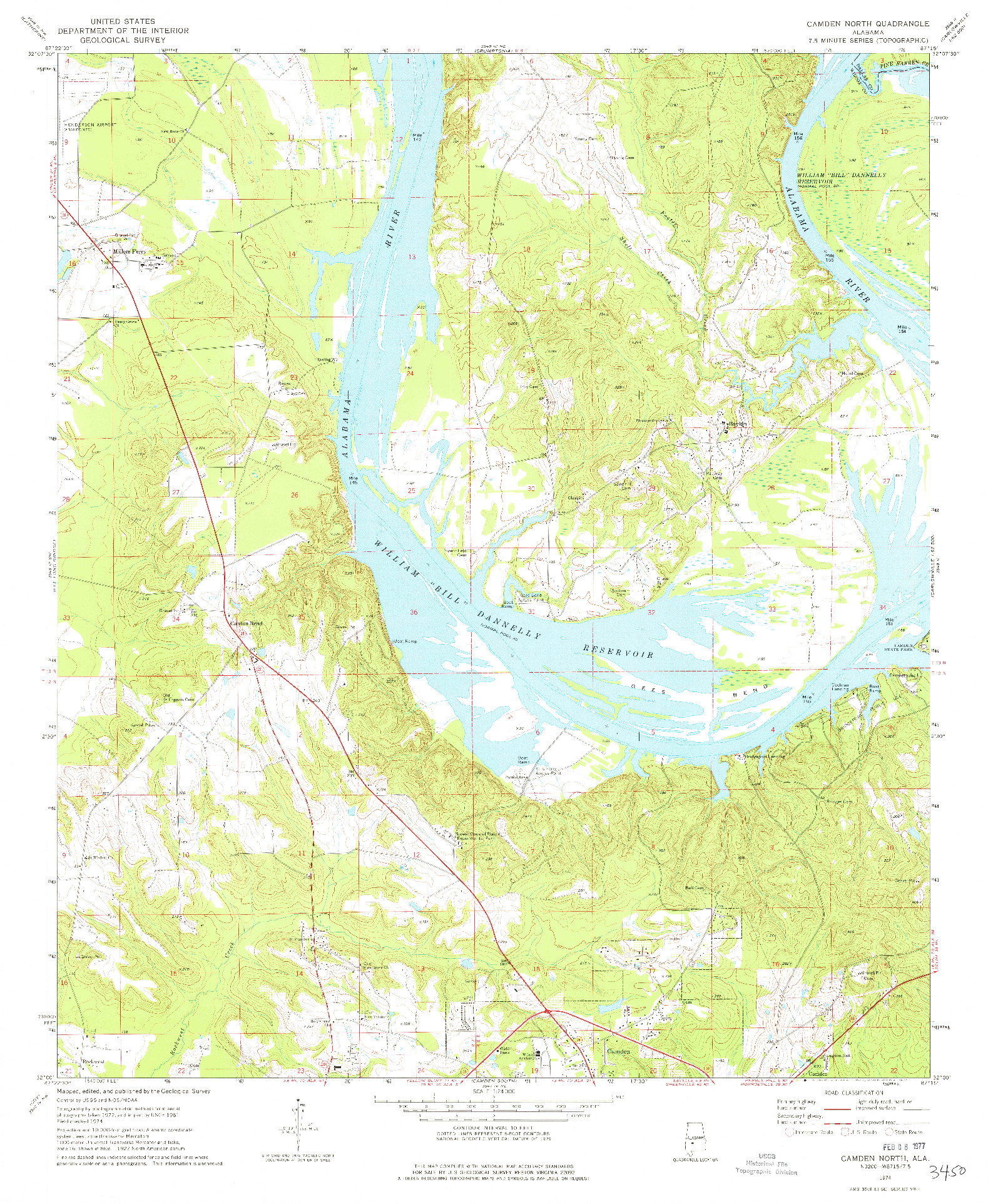 USGS 1:24000-SCALE QUADRANGLE FOR CAMDEN NORTH, AL 1974