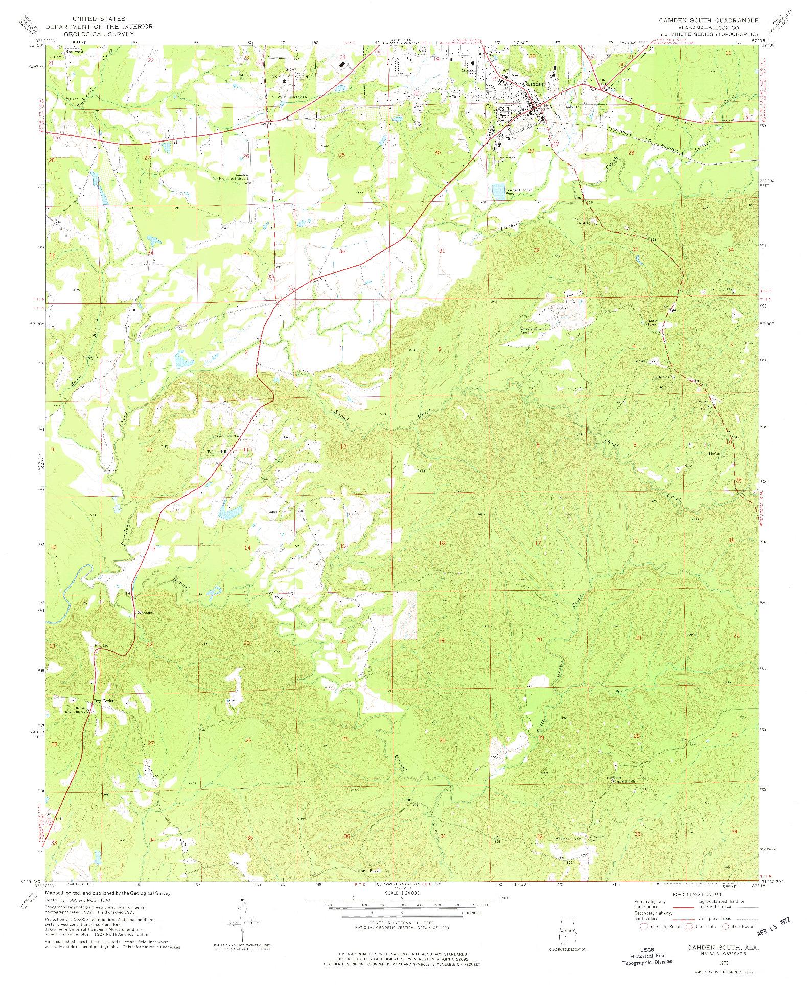 USGS 1:24000-SCALE QUADRANGLE FOR CAMDEN SOUTH, AL 1973