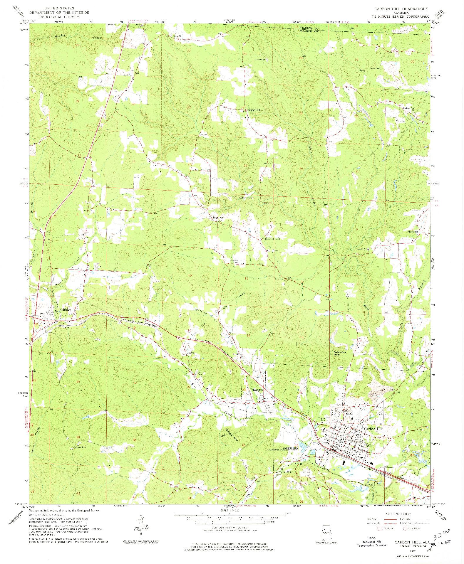 USGS 1:24000-SCALE QUADRANGLE FOR CARBON HILL, AL 1967