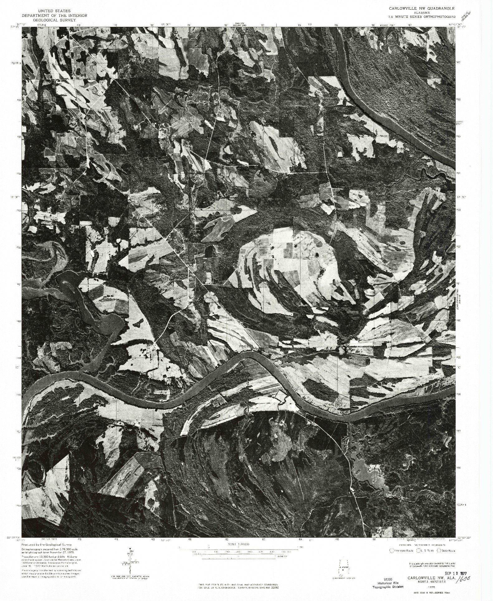 USGS 1:24000-SCALE QUADRANGLE FOR CARLOWVILLE NW, AL 1975