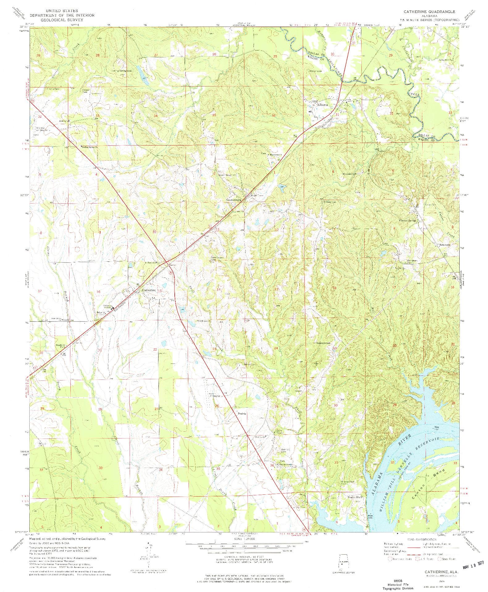 USGS 1:24000-SCALE QUADRANGLE FOR CATHERINE, AL 1974