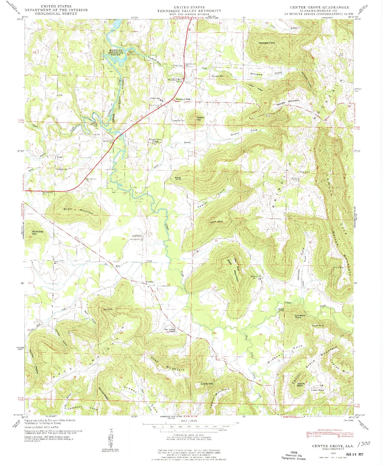 USGS 1:24000-SCALE QUADRANGLE FOR CENTER GROVE, AL 1947