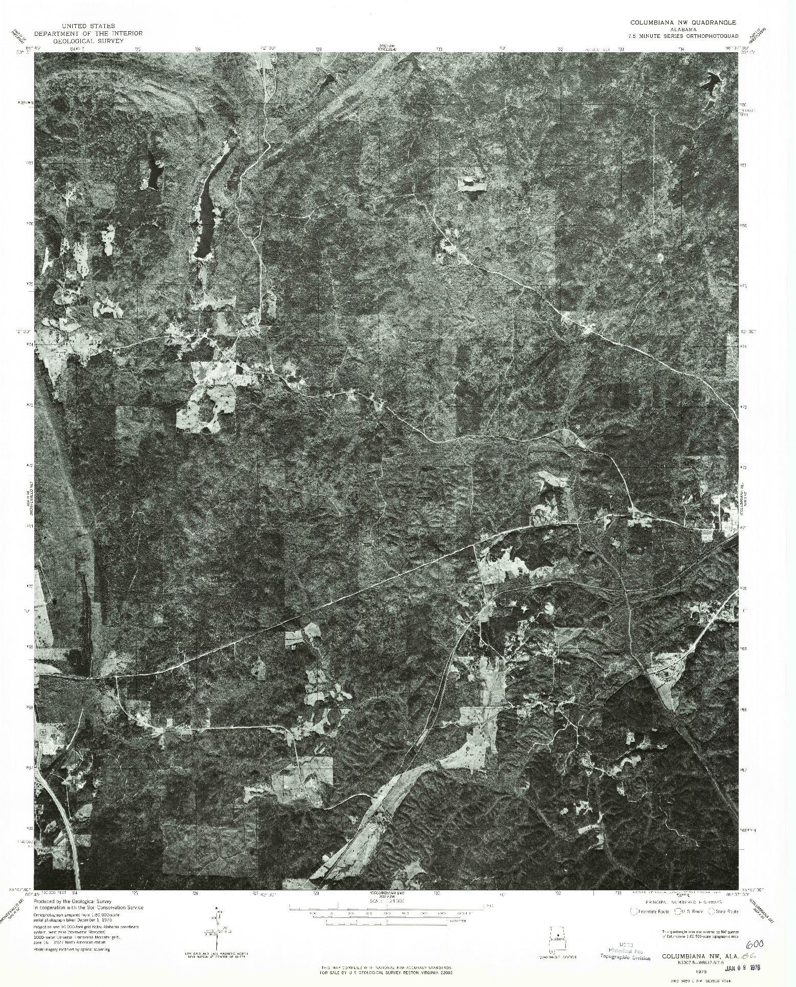 USGS 1:24000-SCALE QUADRANGLE FOR COLUMBIANA NW, AL 1975