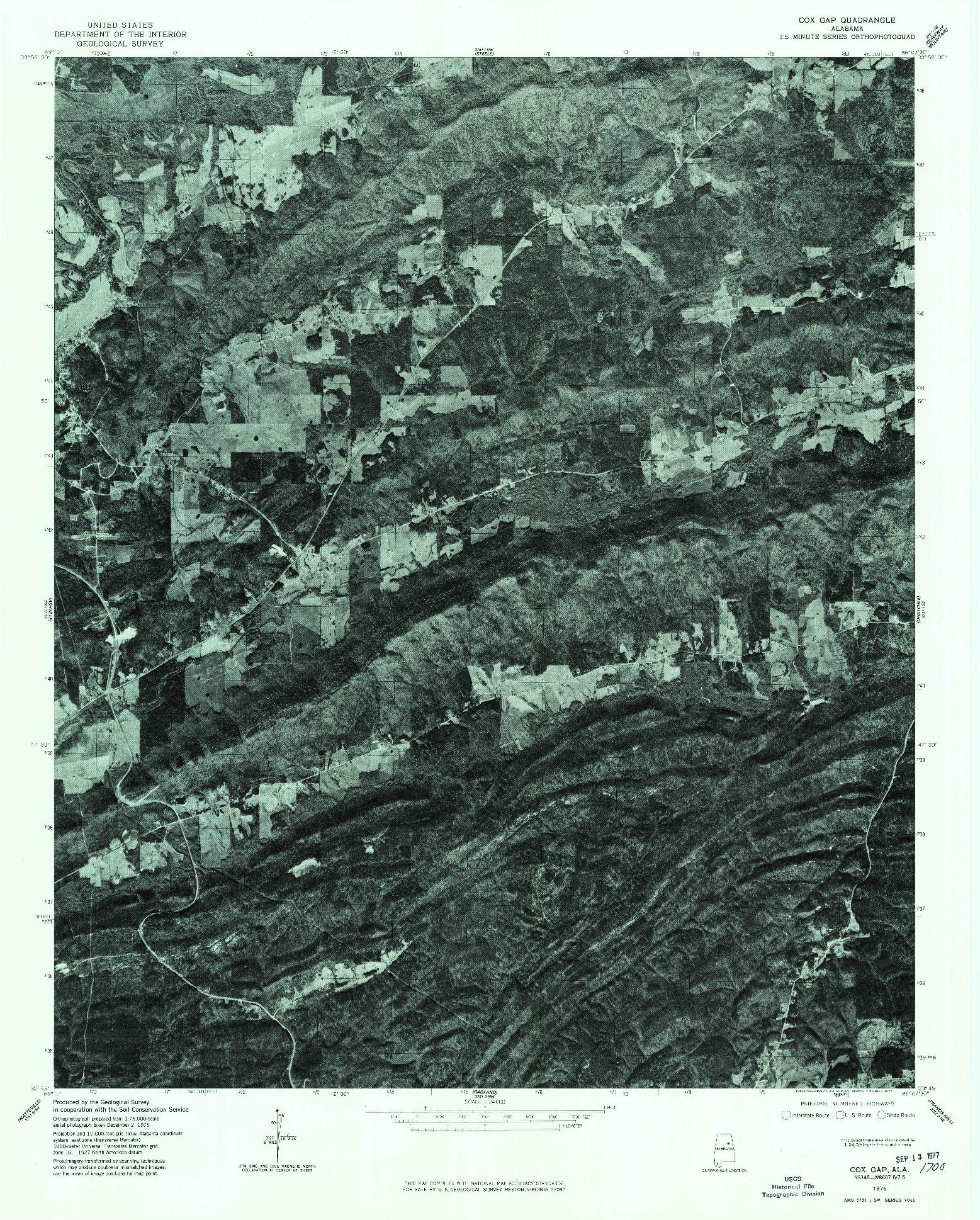 USGS 1:24000-SCALE QUADRANGLE FOR COX GAP, AL 1975