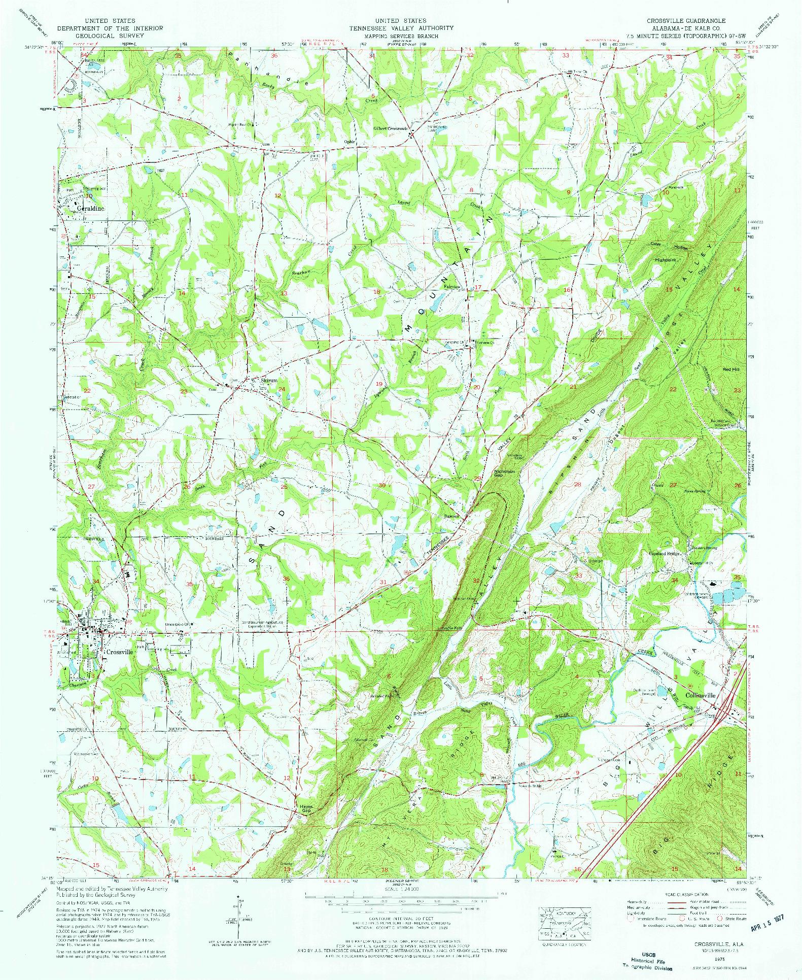 USGS 1:24000-SCALE QUADRANGLE FOR CROSSVILLE, AL 1975
