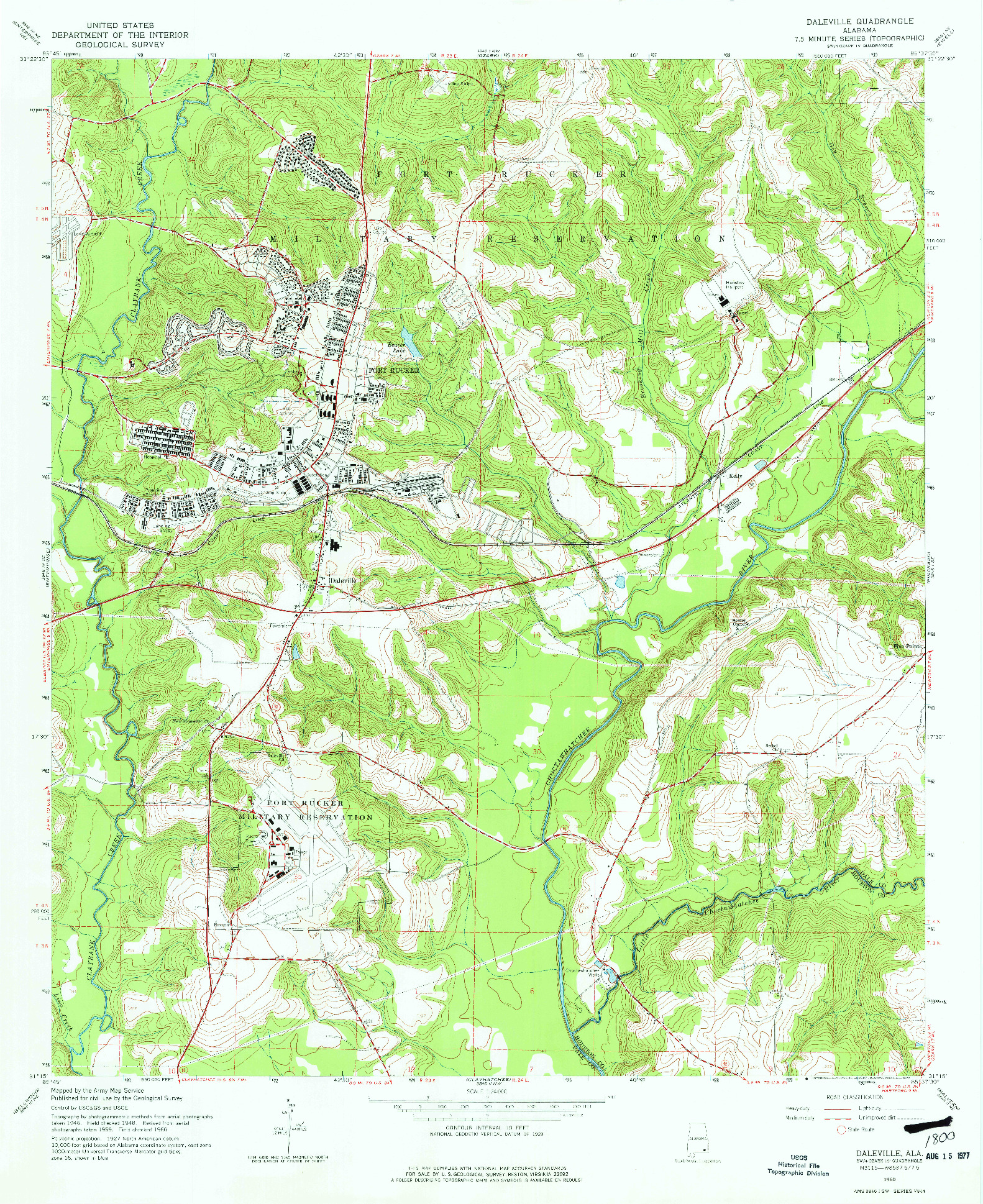 USGS 1:24000-SCALE QUADRANGLE FOR DALEVILLE, AL 1960