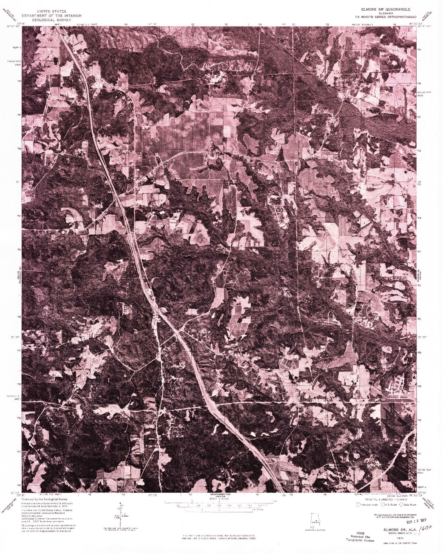 USGS 1:24000-SCALE QUADRANGLE FOR ELMORE SW, AL 1975
