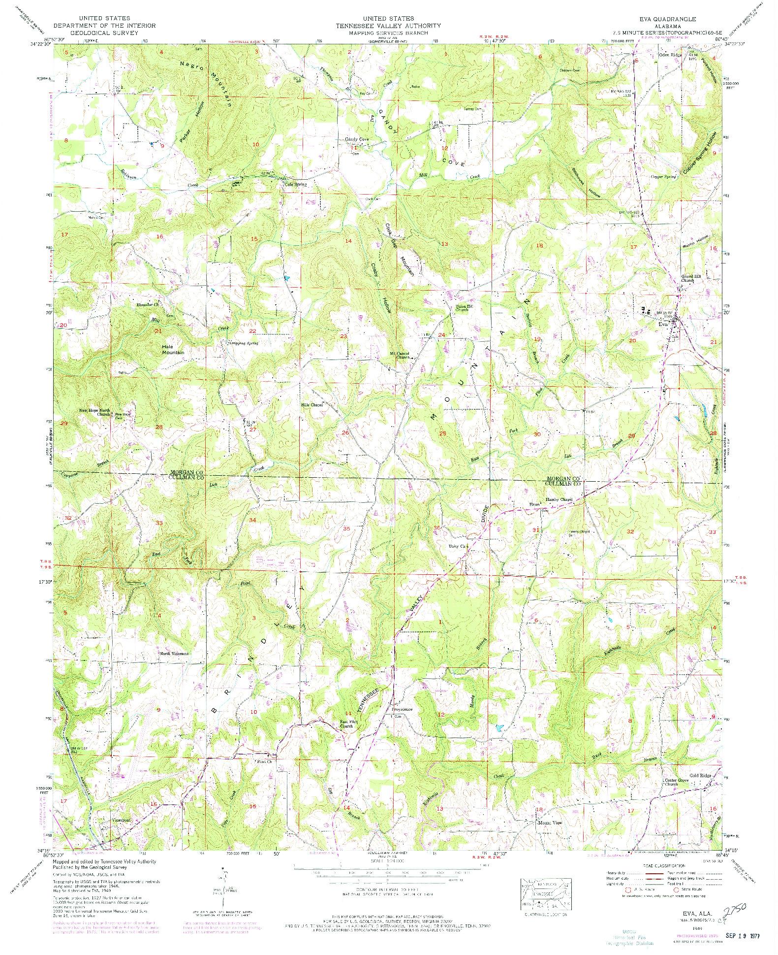 USGS 1:24000-SCALE QUADRANGLE FOR EVA, AL 1949