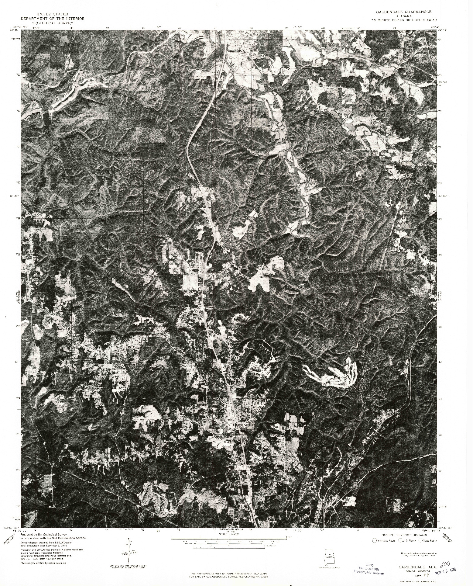USGS 1:24000-SCALE QUADRANGLE FOR GARDENDALE, AL 1975